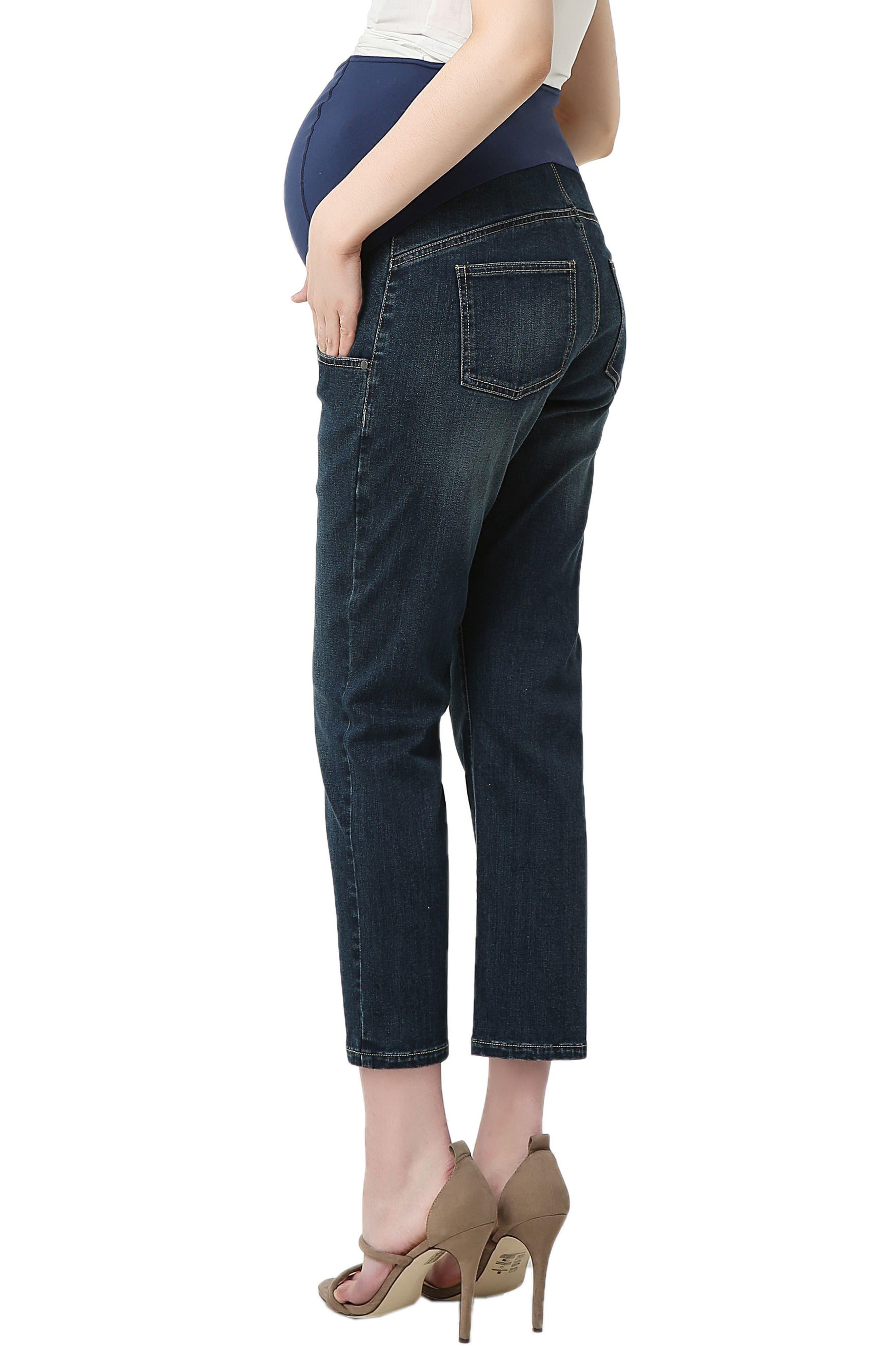 Jodie Crop Girlfriend Maternity Jeans,                             Alternate thumbnail 2, color,                             Rich Indigo