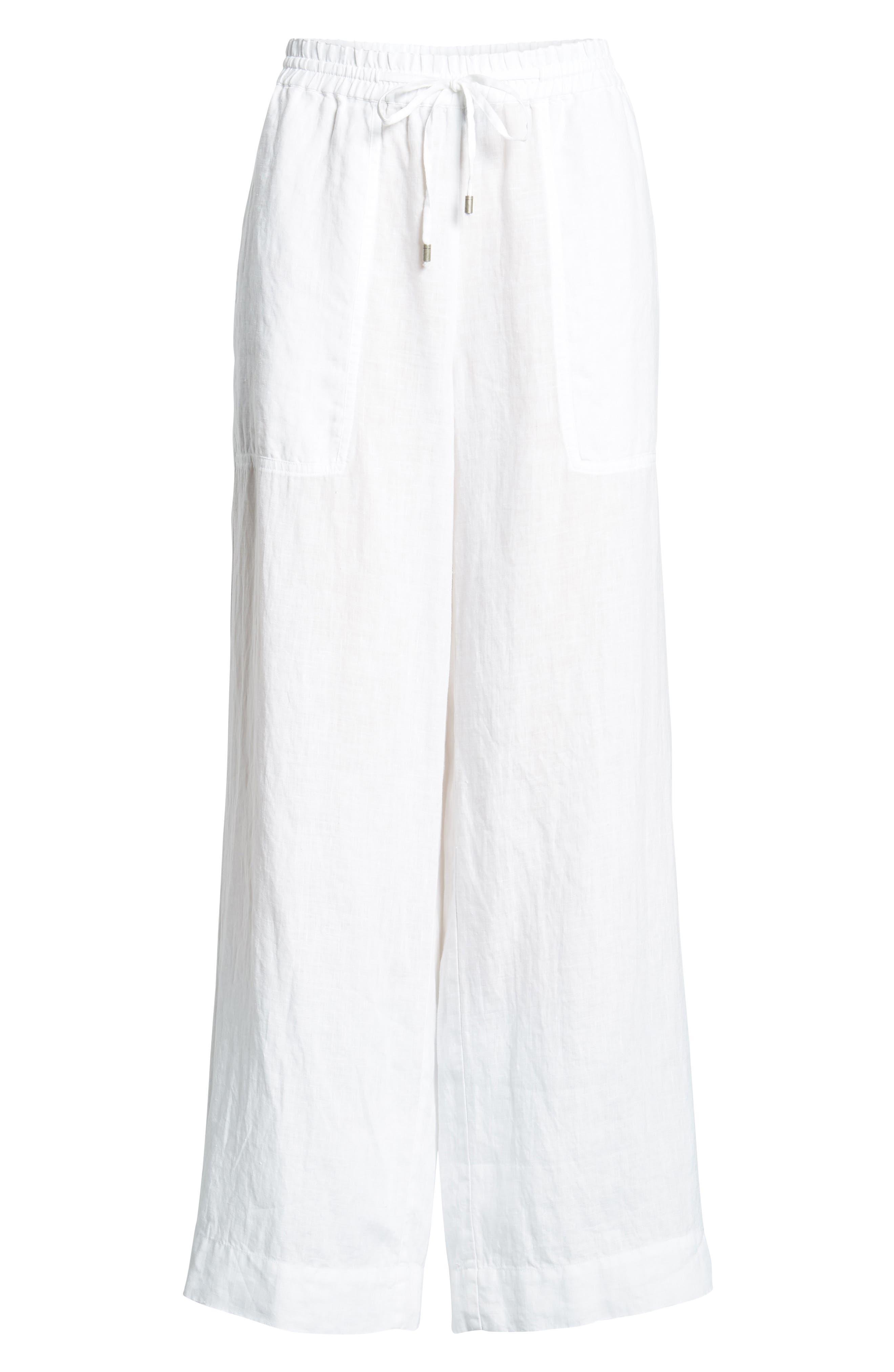Wide Leg Organic Linen Pants,                             Alternate thumbnail 7, color,                             White