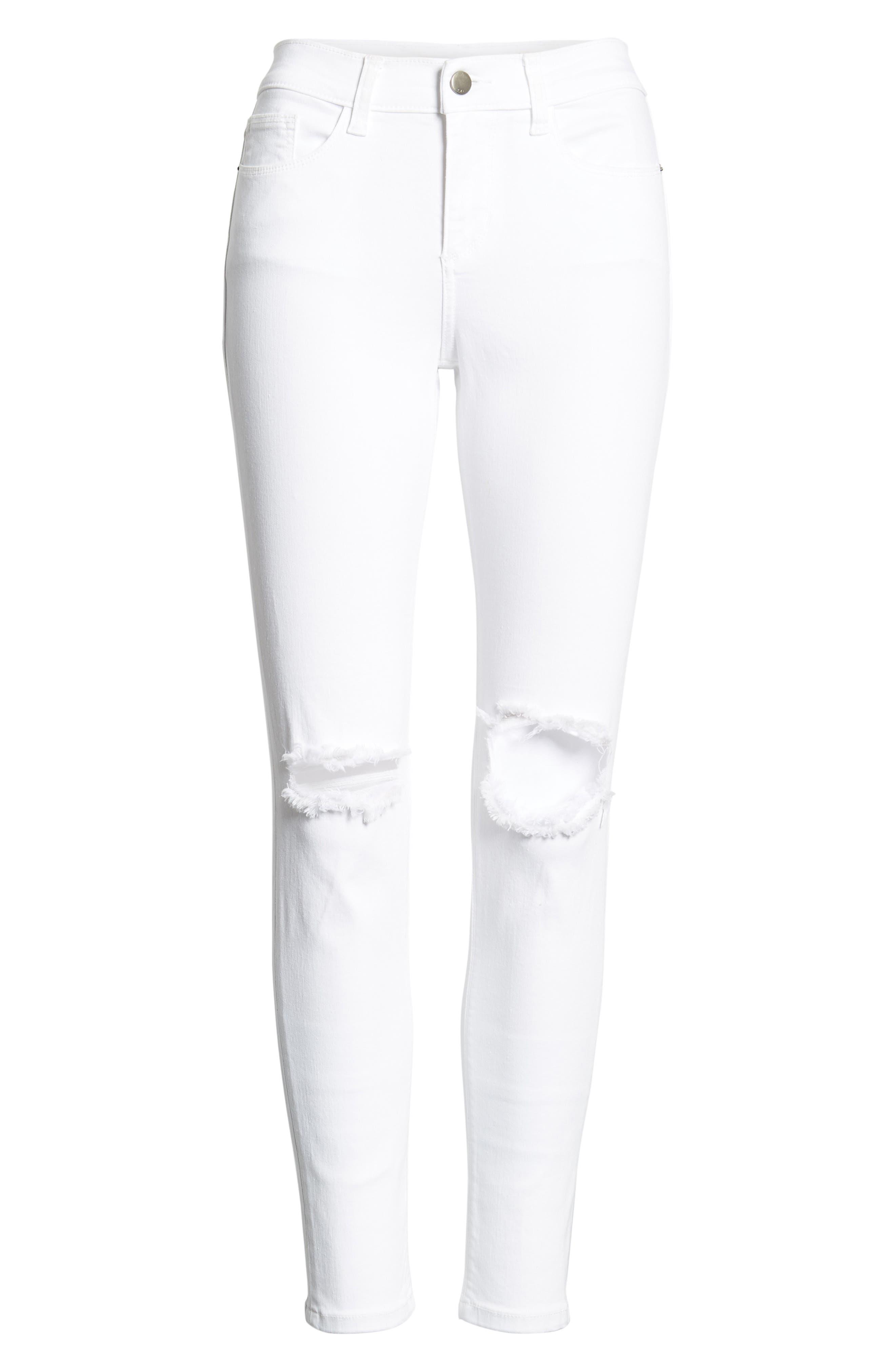 Open Knee Skinny Jeans,                             Alternate thumbnail 6, color,                             White