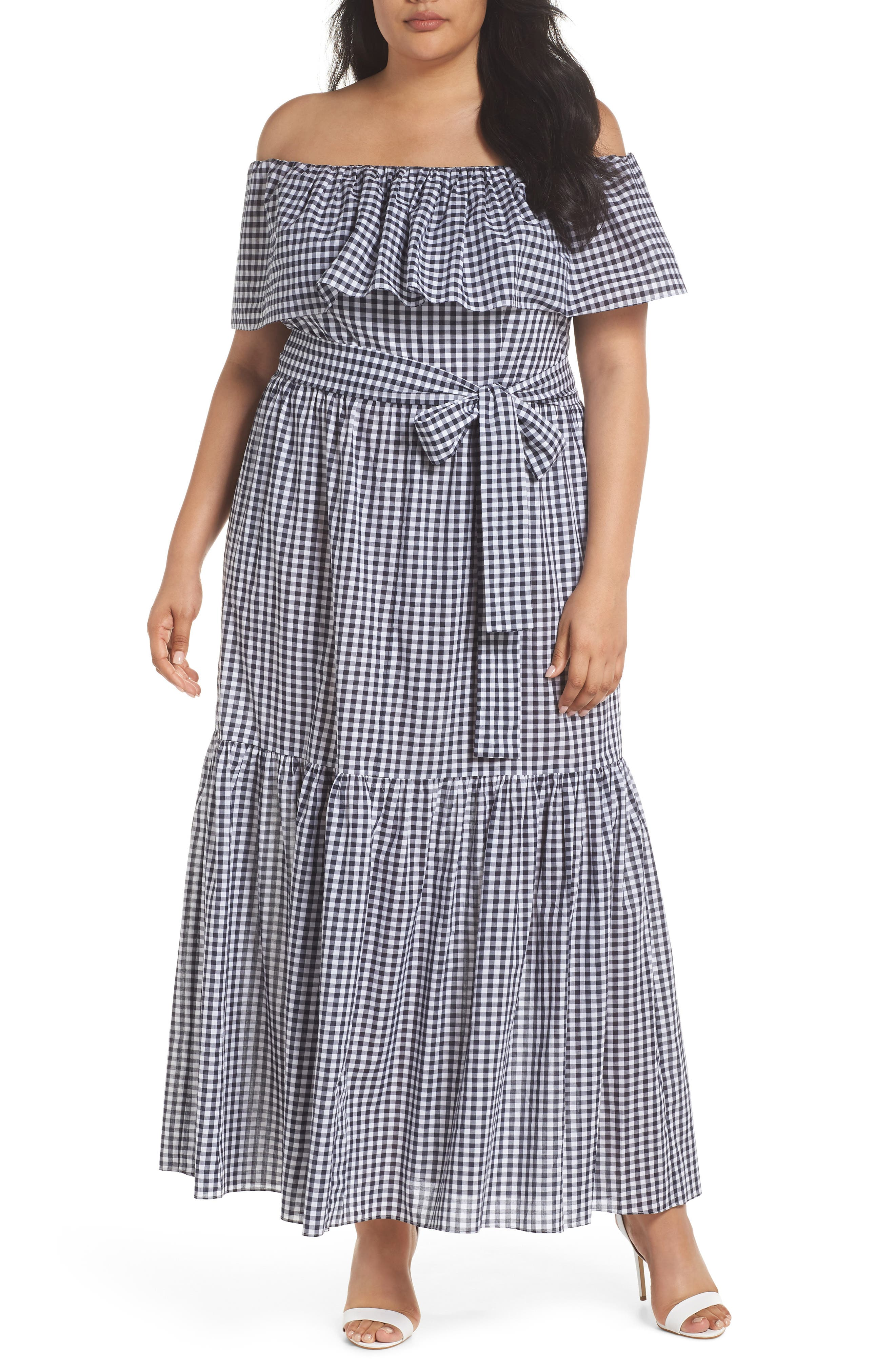 Off the Shoulder Gingham Maxi Dress,                         Main,                         color, Blue White Gingham