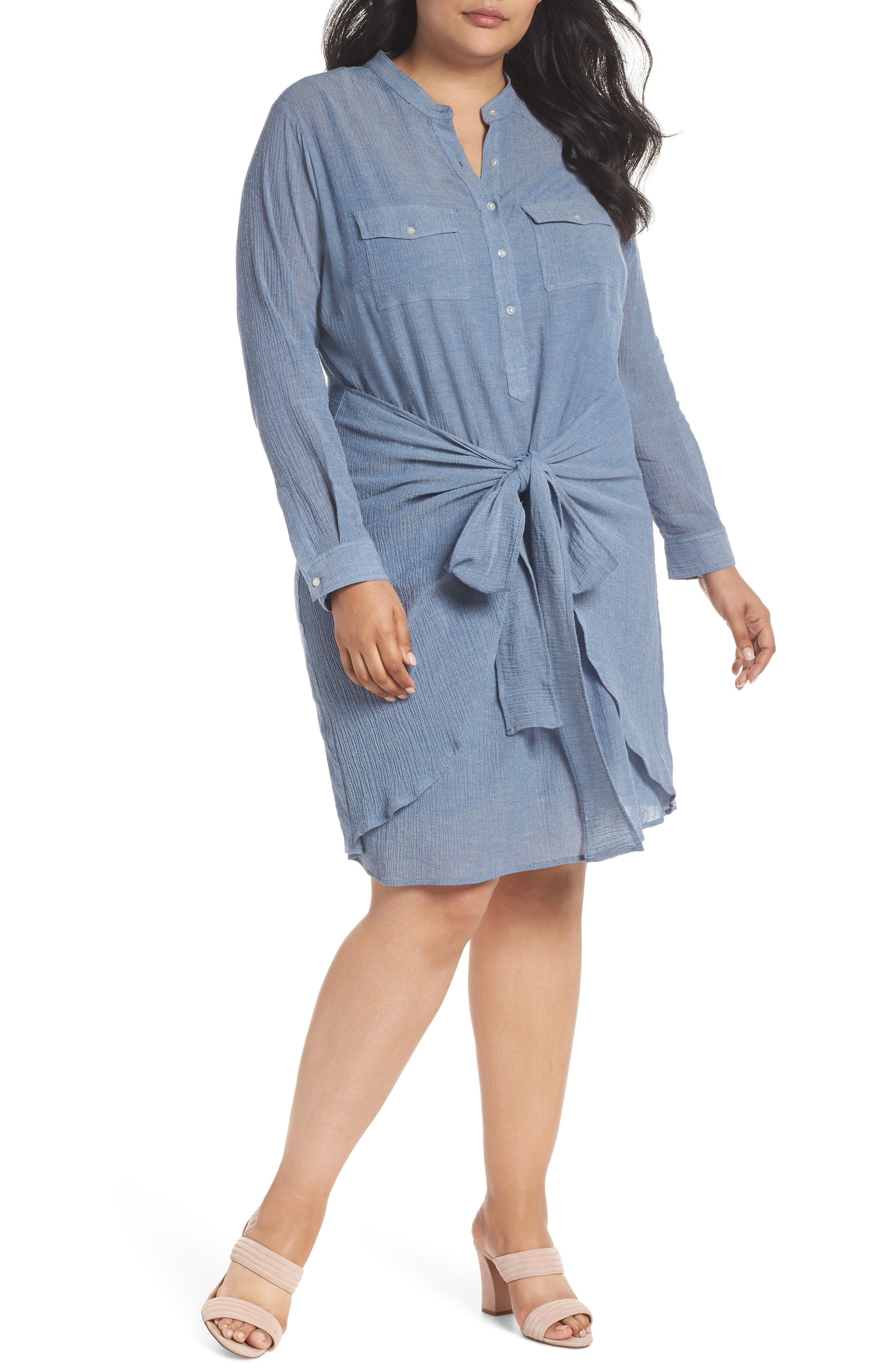 Tie Waist Chambray Dress,                         Main,                         color, Blue