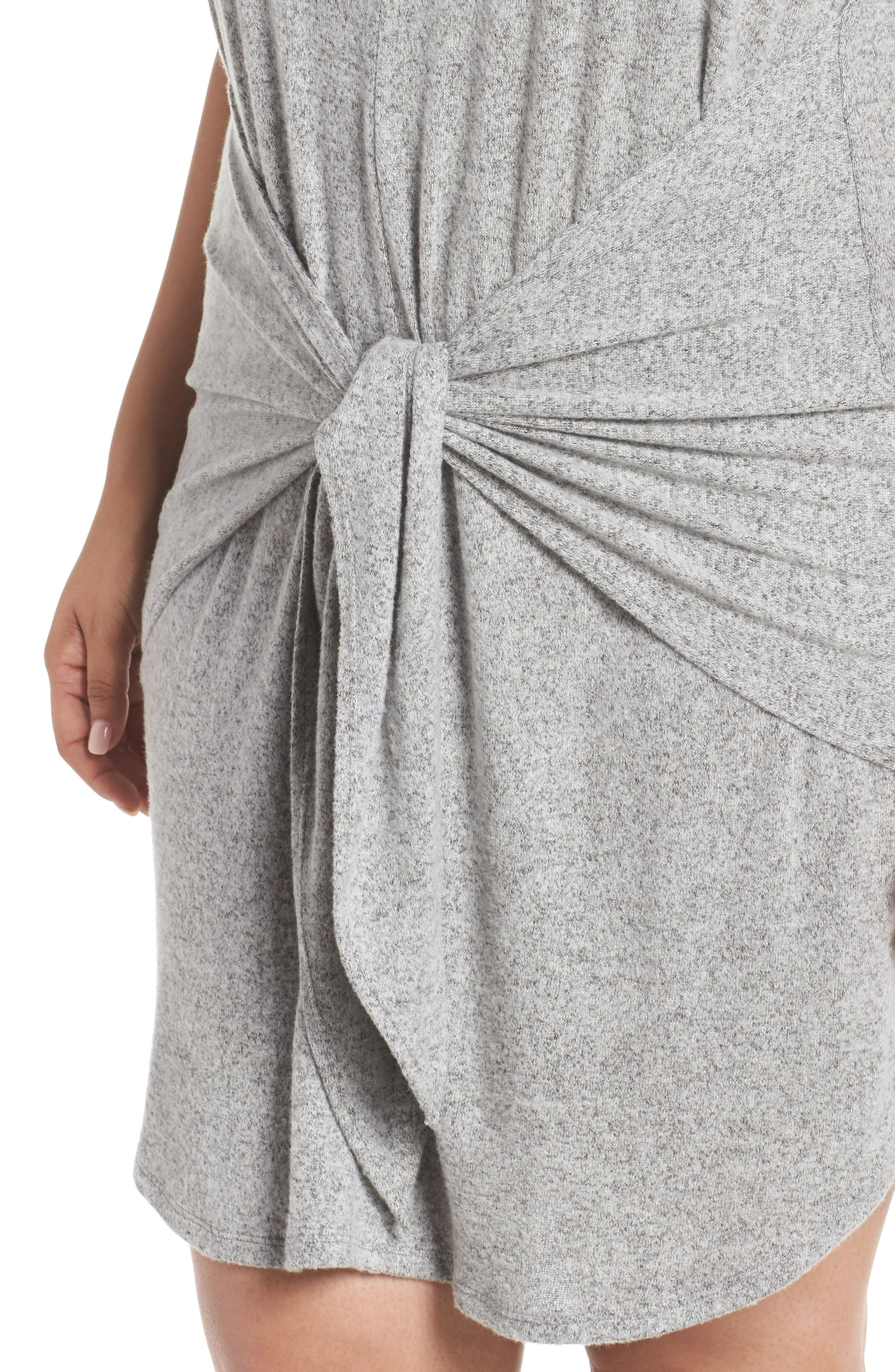 Off-Duty Tie Front Knit Dress,                             Alternate thumbnail 4, color,                             Grey Heather