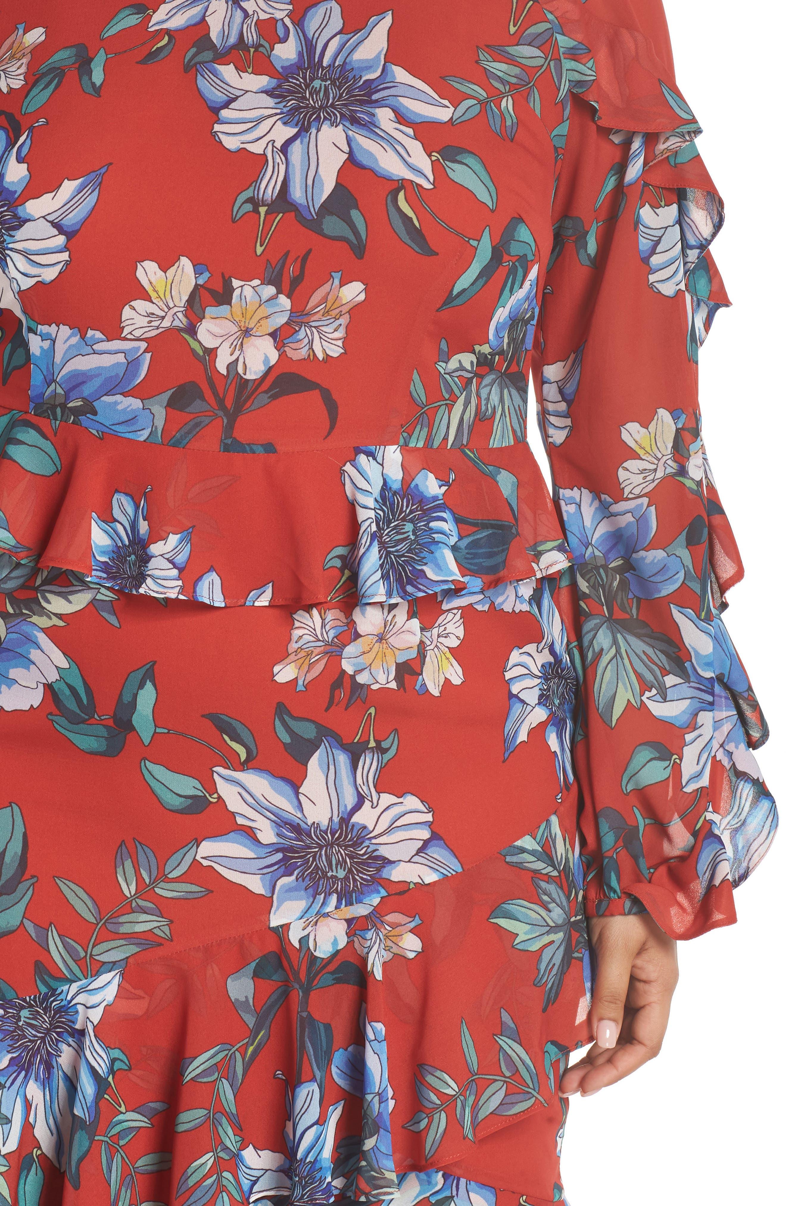 Floral Asymmetrical Dress,                             Alternate thumbnail 4, color,                             Print Dark