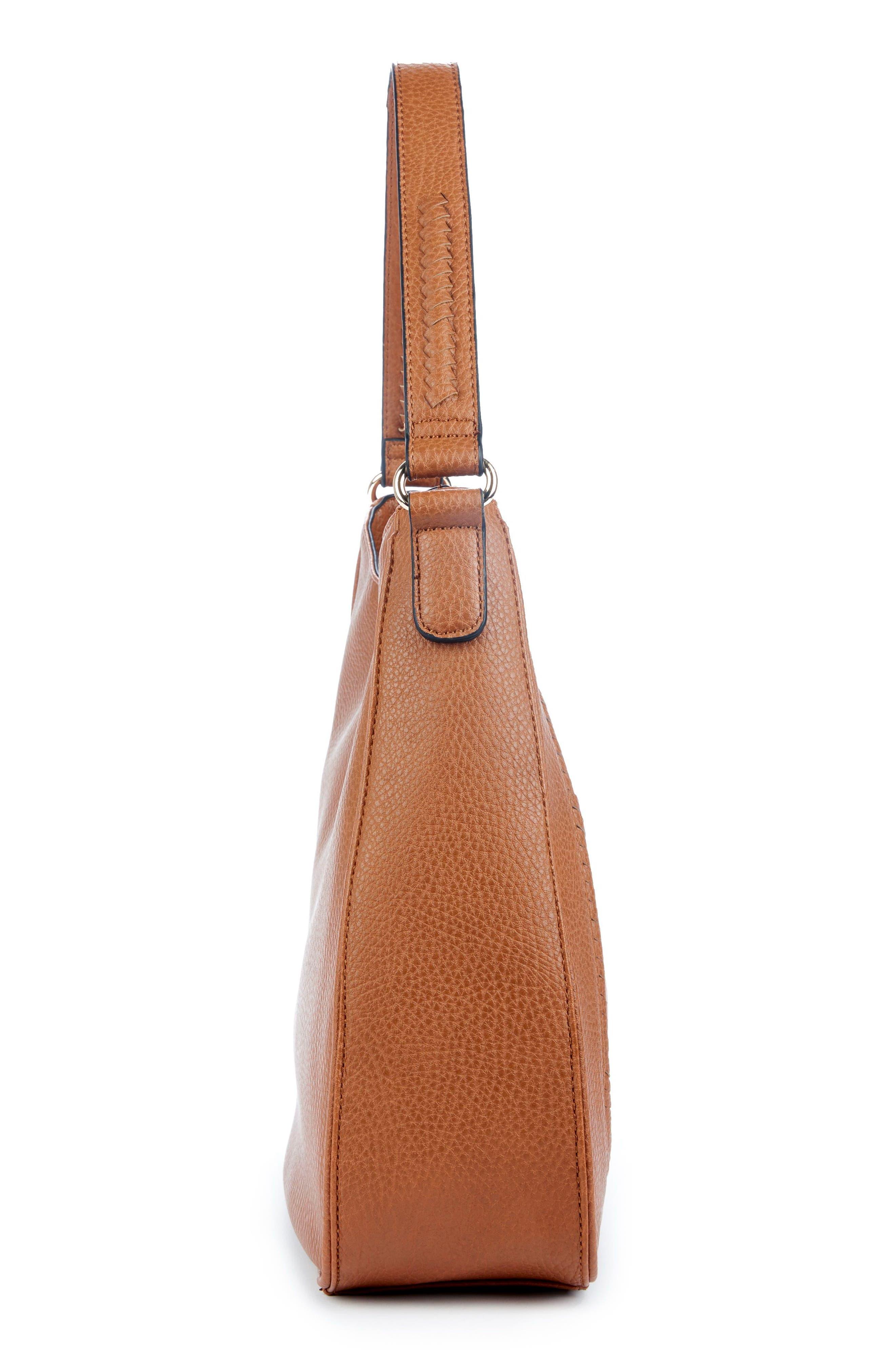 Sarafina Faux Leather Shoulder Bag,                             Alternate thumbnail 4, color,                             Cognac