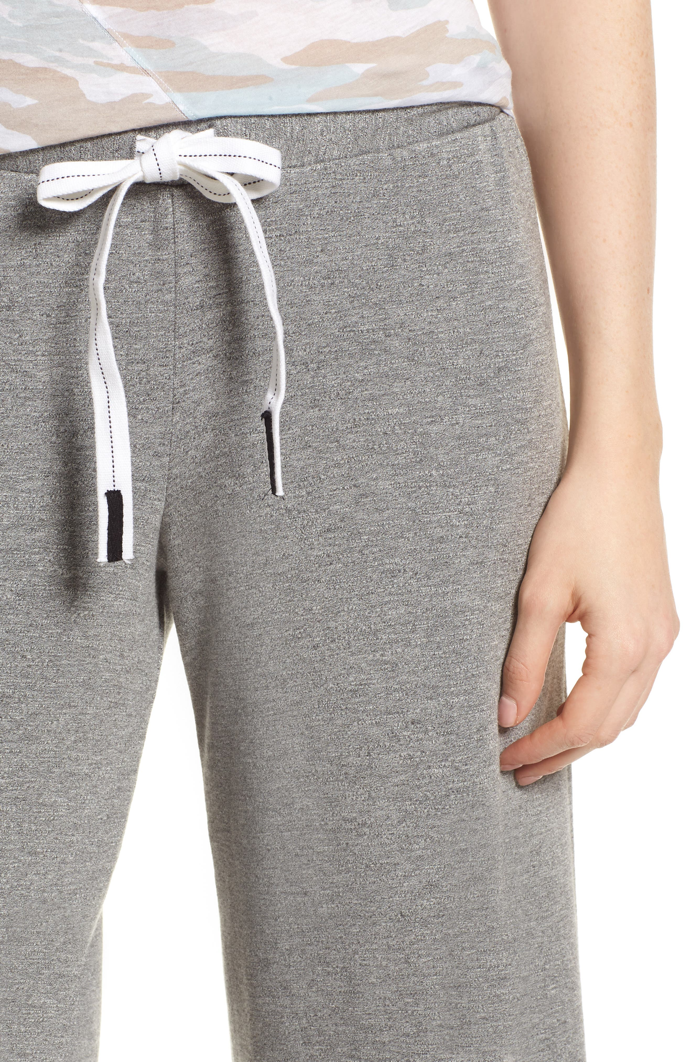Flare Fleece Pants,                             Alternate thumbnail 4, color,                             Heather Grey