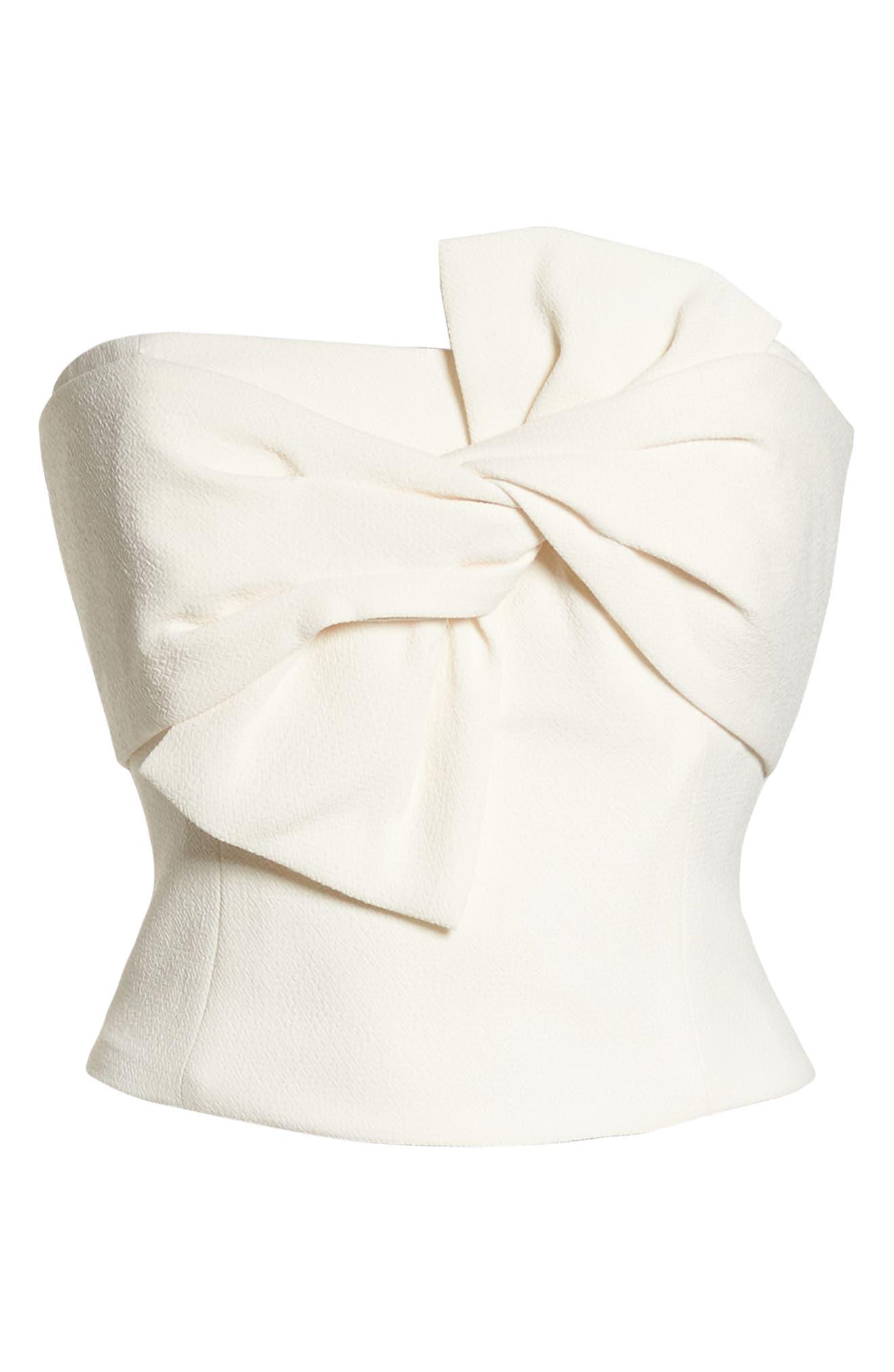 Strapless Bow Crepe Top,                             Alternate thumbnail 7, color,                             White