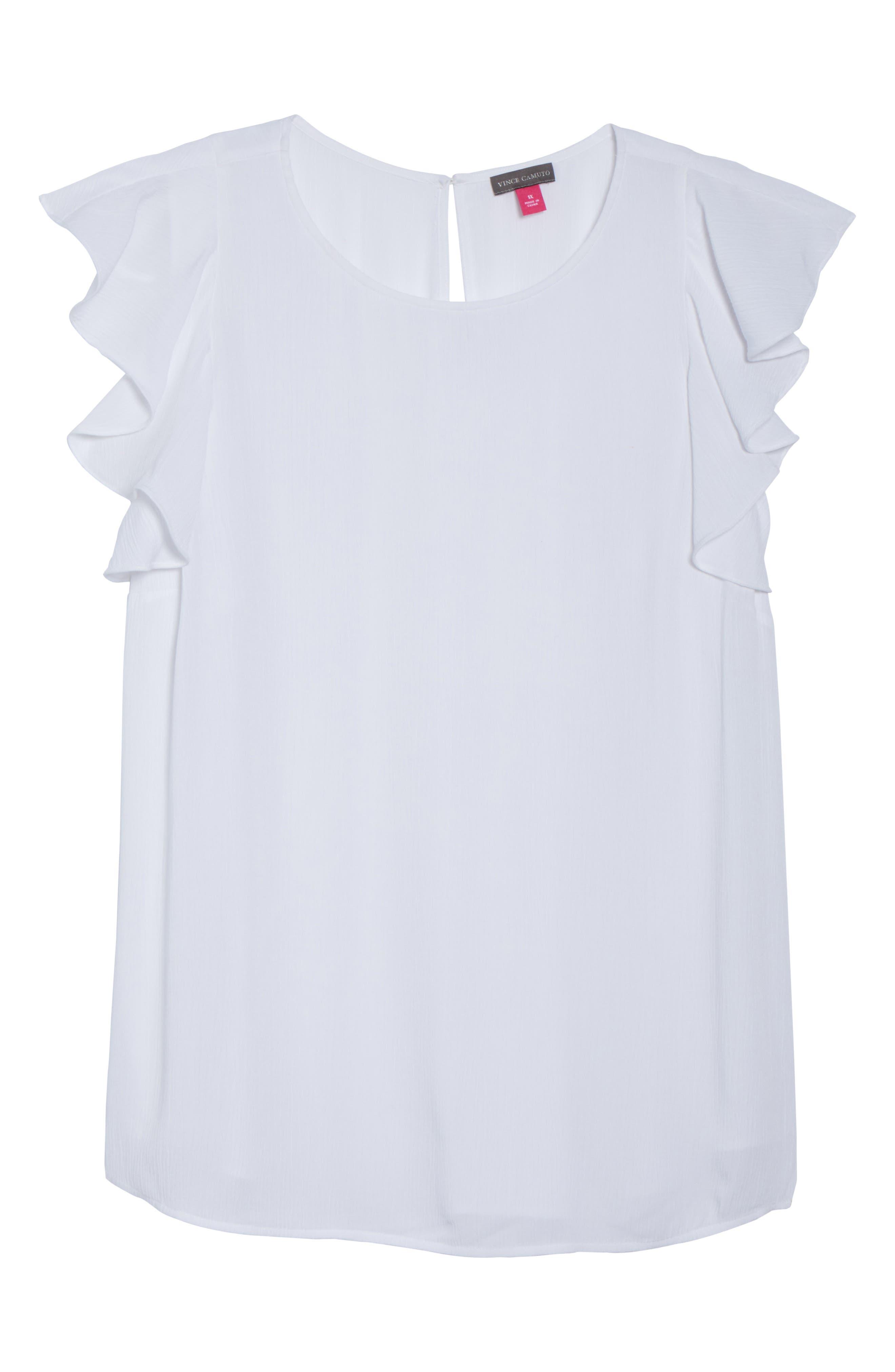 Ruffle Sleeve Crinkle Gauze Top,                             Alternate thumbnail 7, color,                             Ultra White