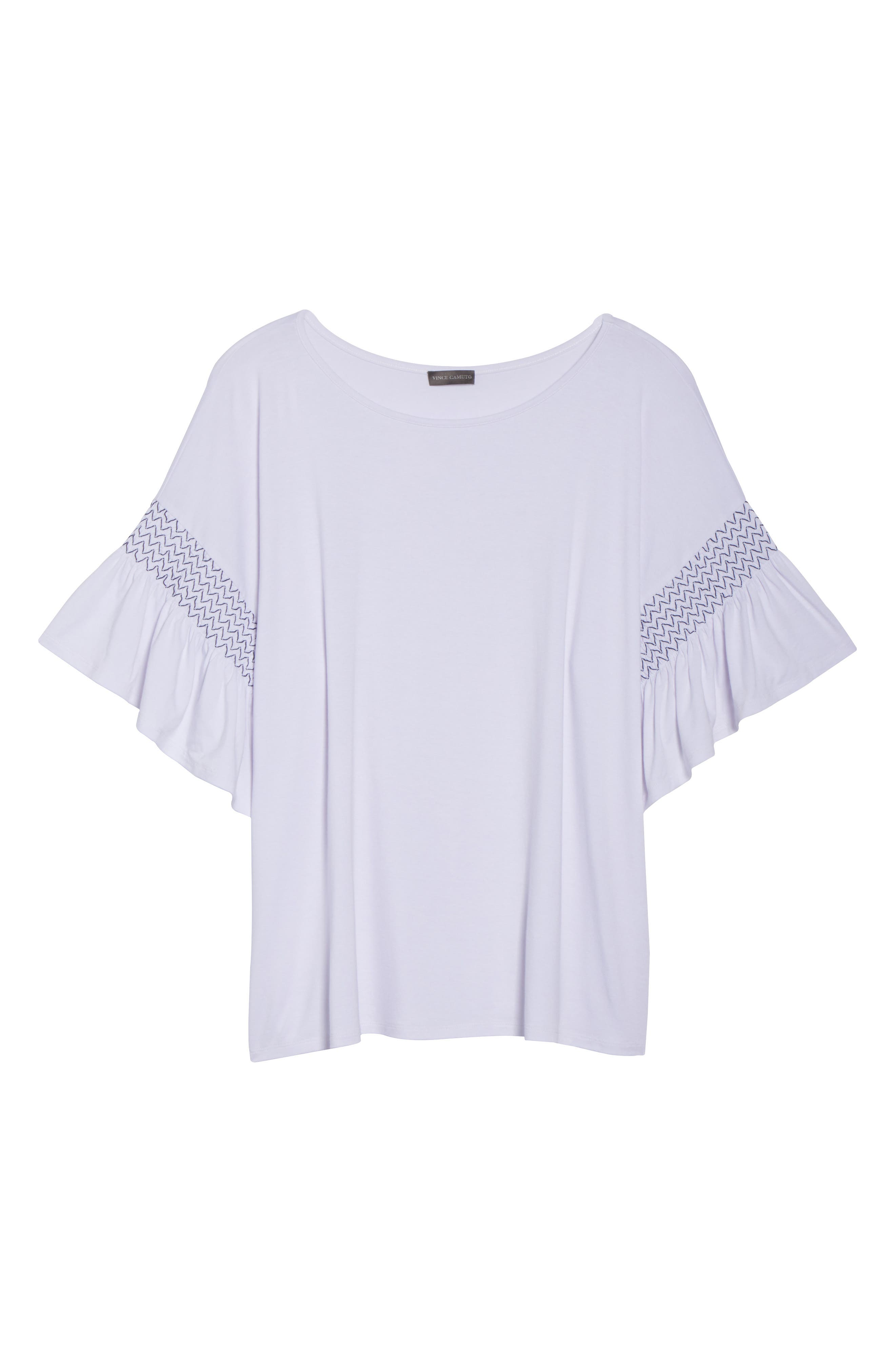 Dropped Smock Shoulder Ruffle Sleeve Top,                             Alternate thumbnail 7, color,                             Ultra White