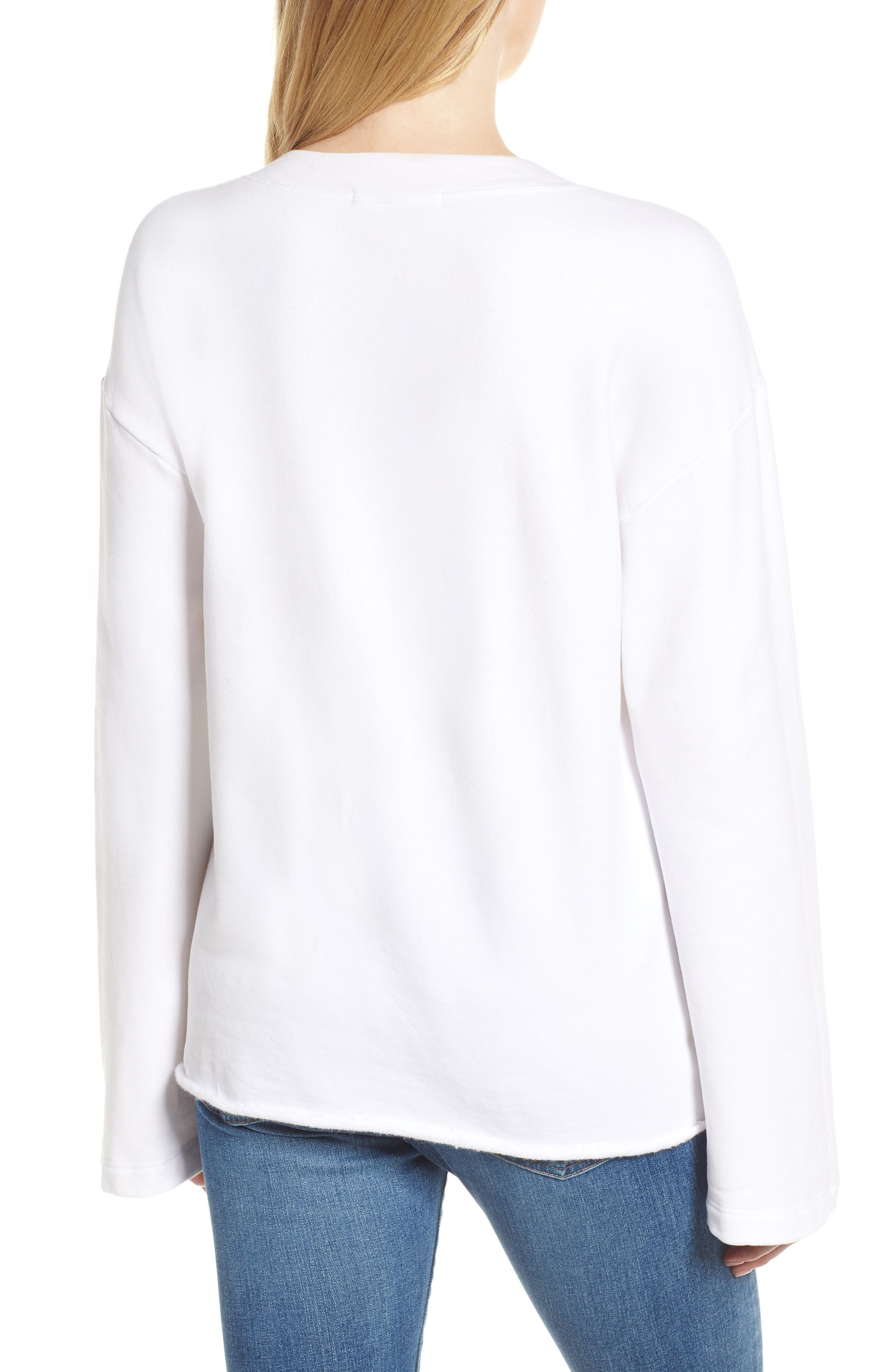 Gathered French Terry Sweatshirt,                             Alternate thumbnail 2, color,                             White