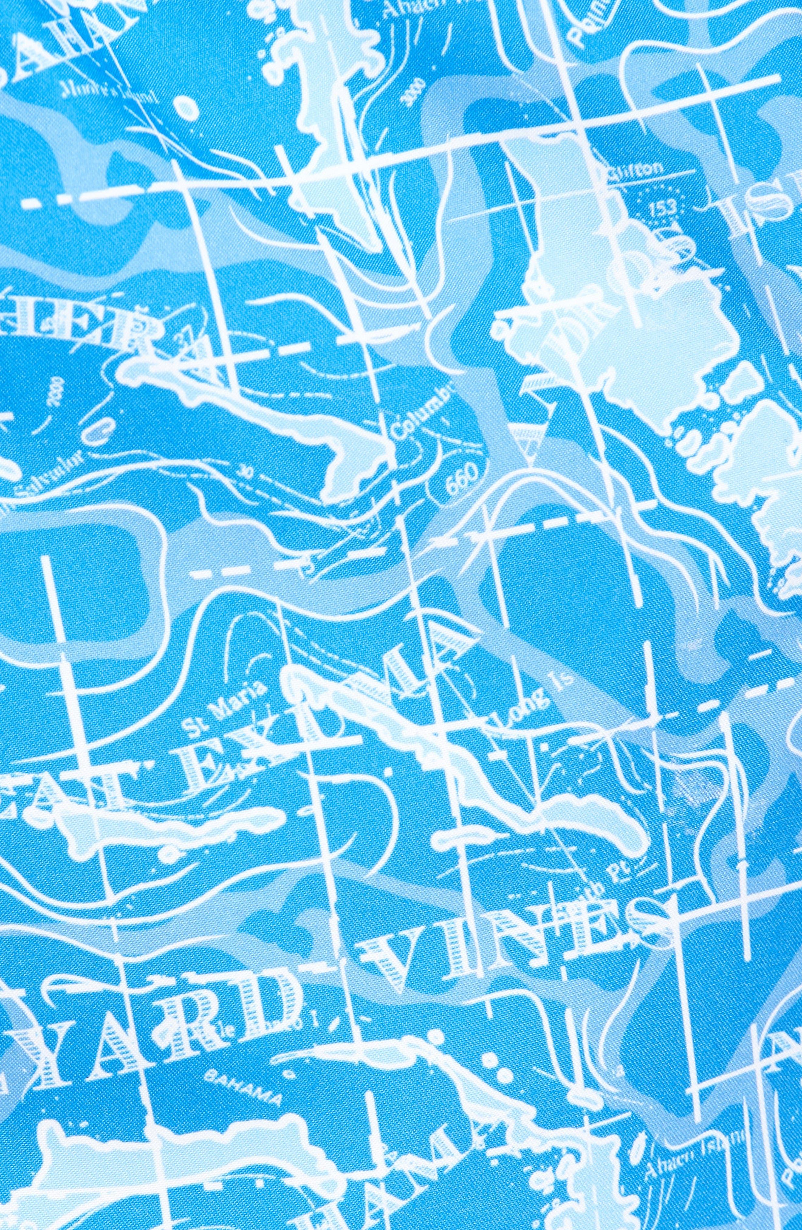 Chappy Bahama Map Swim Trunks,                             Alternate thumbnail 5, color,                             Hull Blue