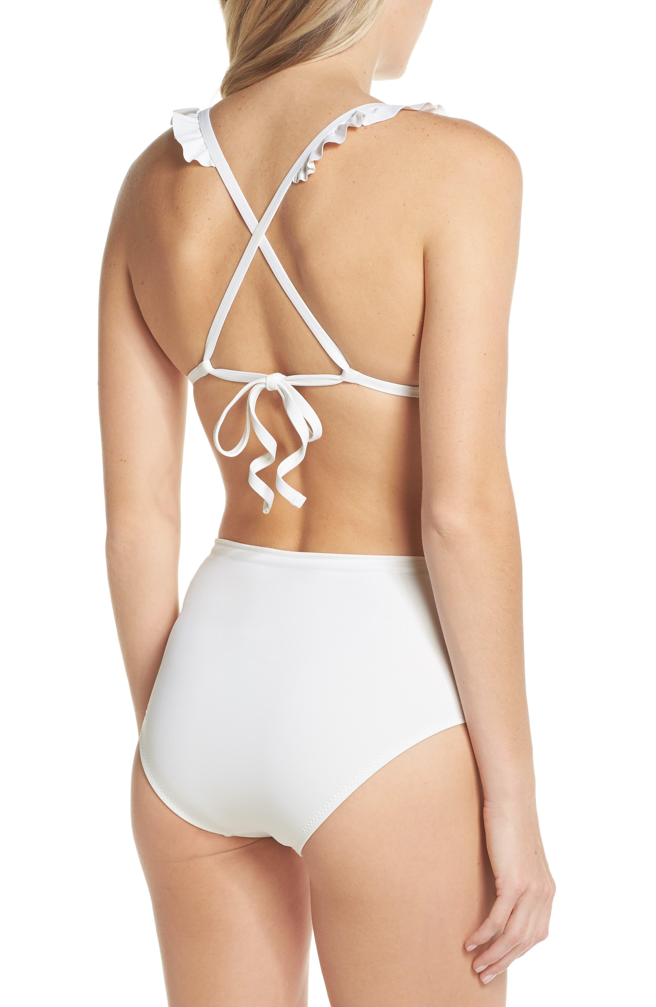 Ruffle Halter Bikini Top,                             Alternate thumbnail 6, color,                             Ivory Egret