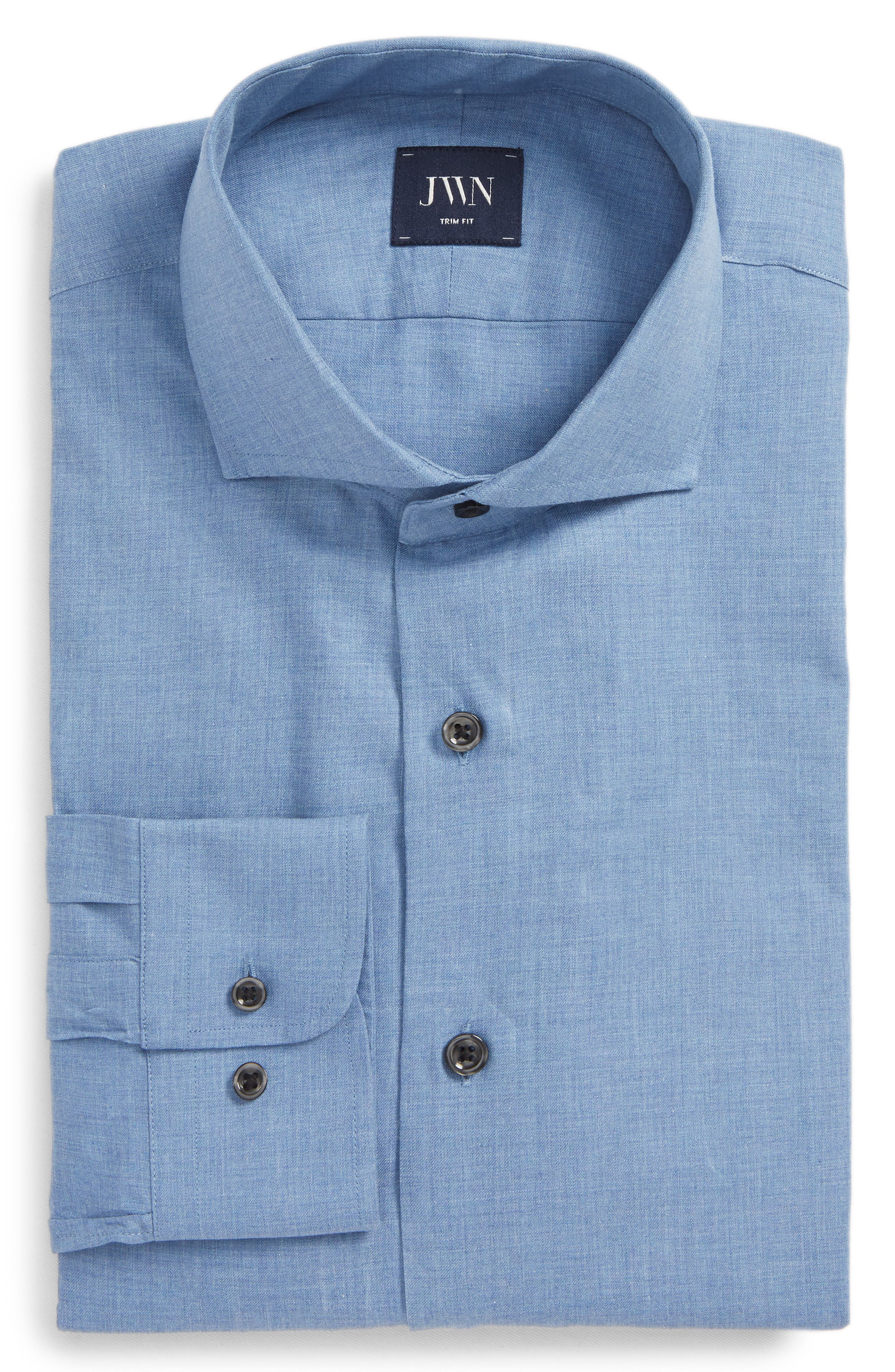Trim Fit Solid Dress Shirt,                         Main,                         color, Blue Country