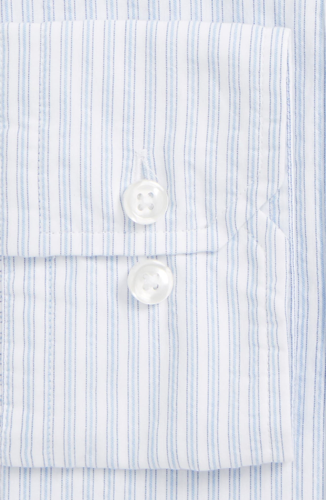 Trim Fit Stripe Dress Shirt,                             Alternate thumbnail 2, color,                             Blue Stripe