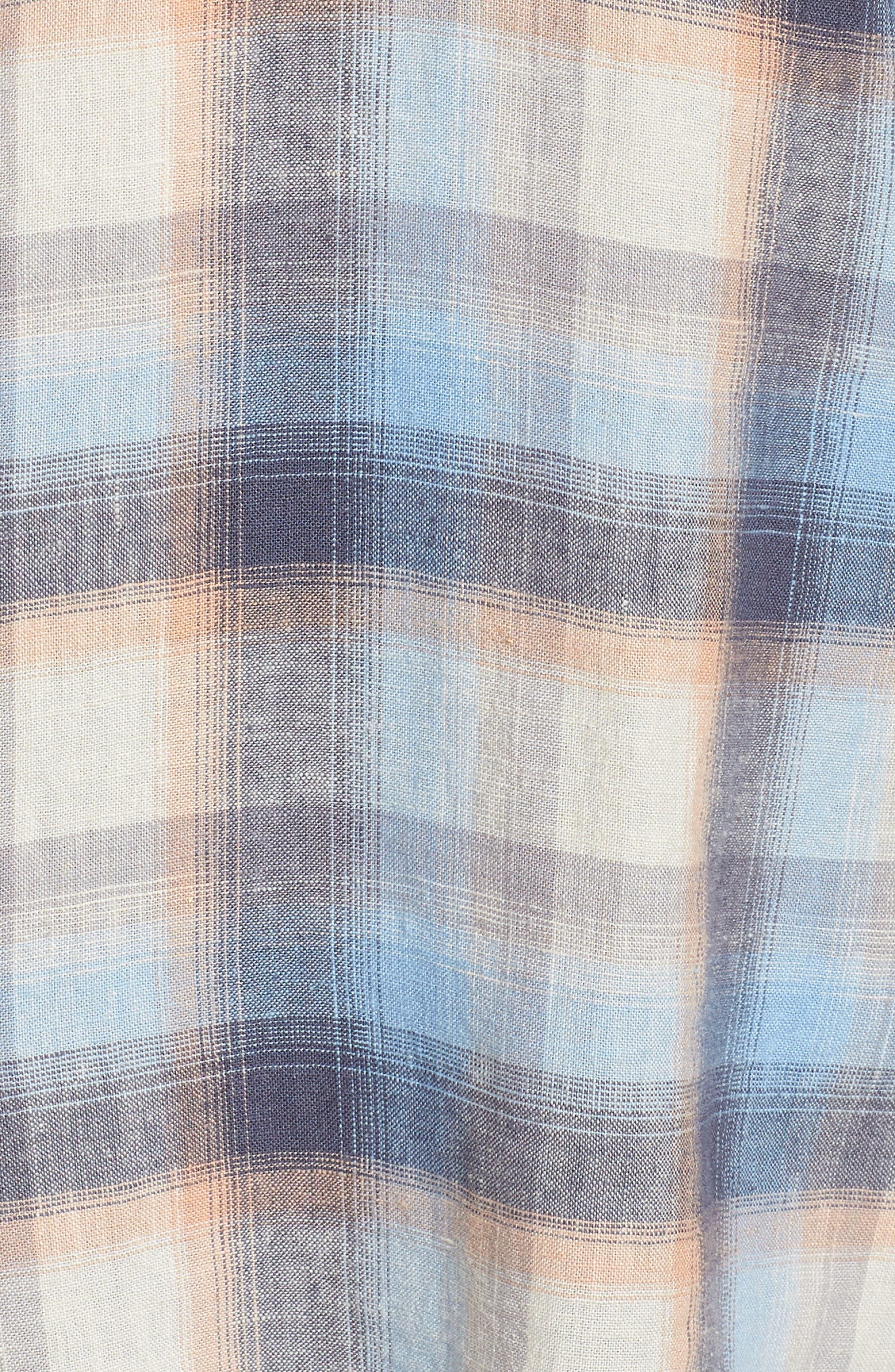 Plaid Linen Blend Shirt,                             Alternate thumbnail 6, color,                             Blue Plaid