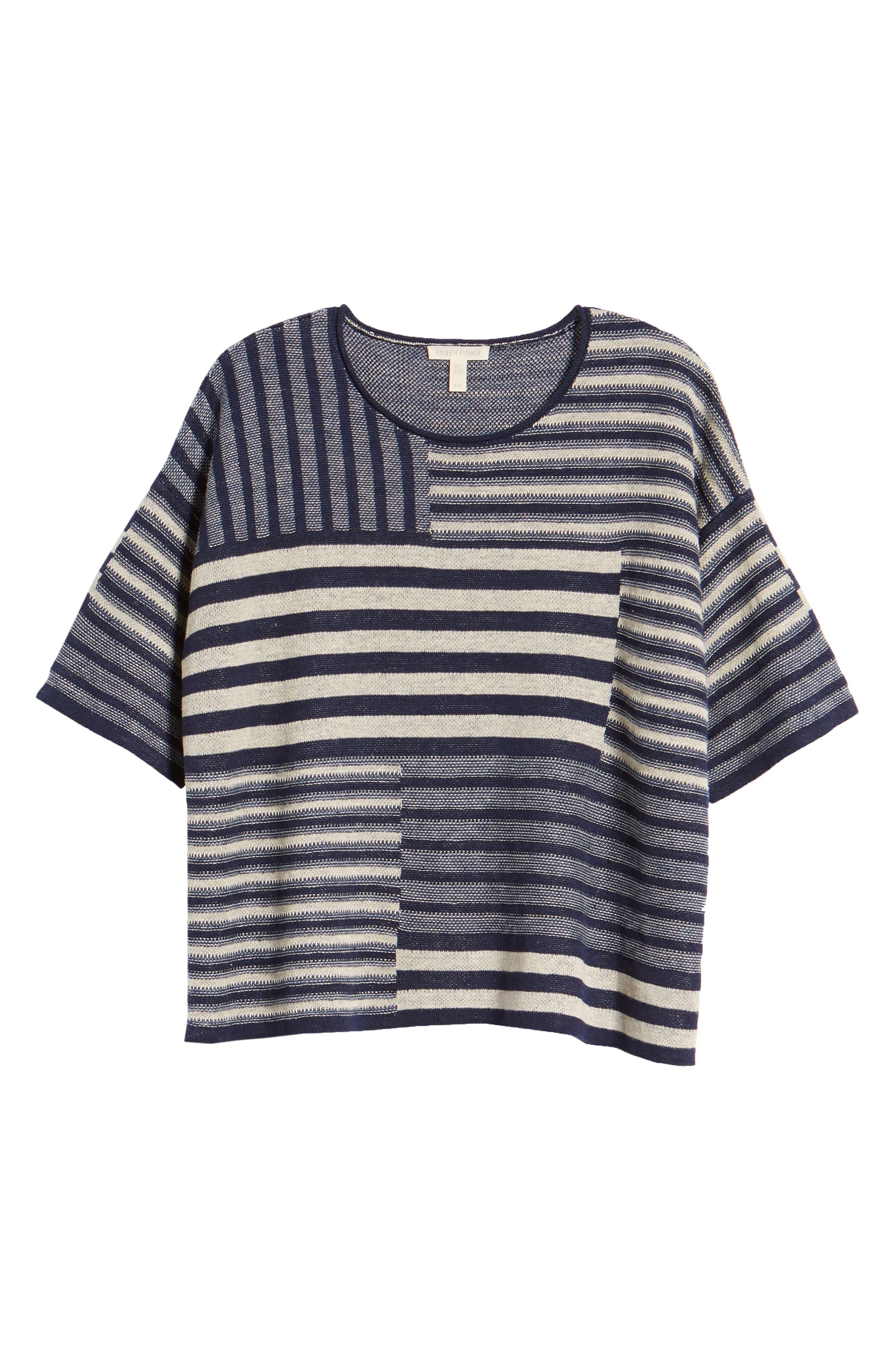 Mixed Stripe Organic Linen Top,                             Alternate thumbnail 7, color,                             Denim