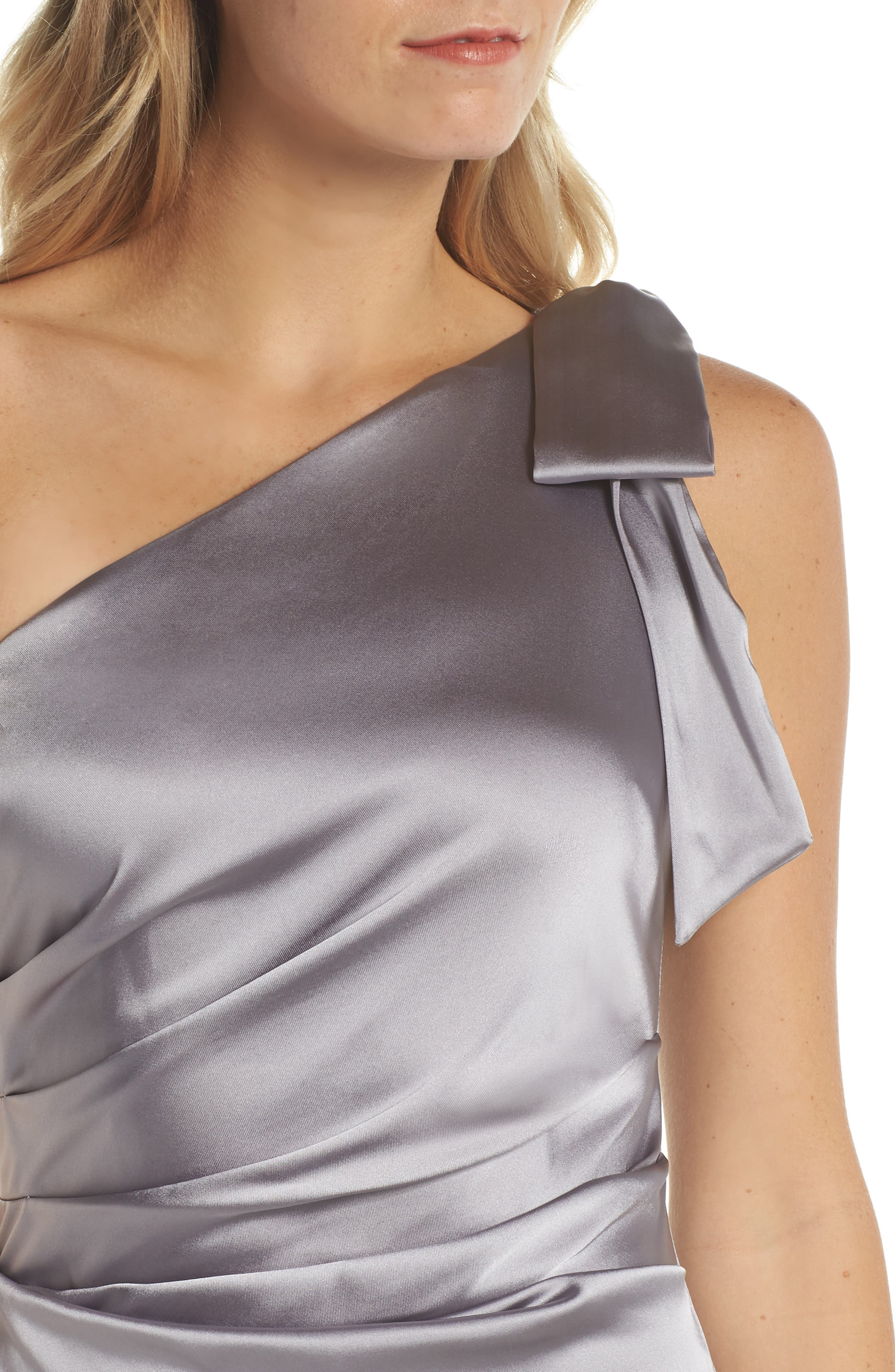 One-Shoulder Stretch Satin Gown,                             Alternate thumbnail 4, color,                             Silver