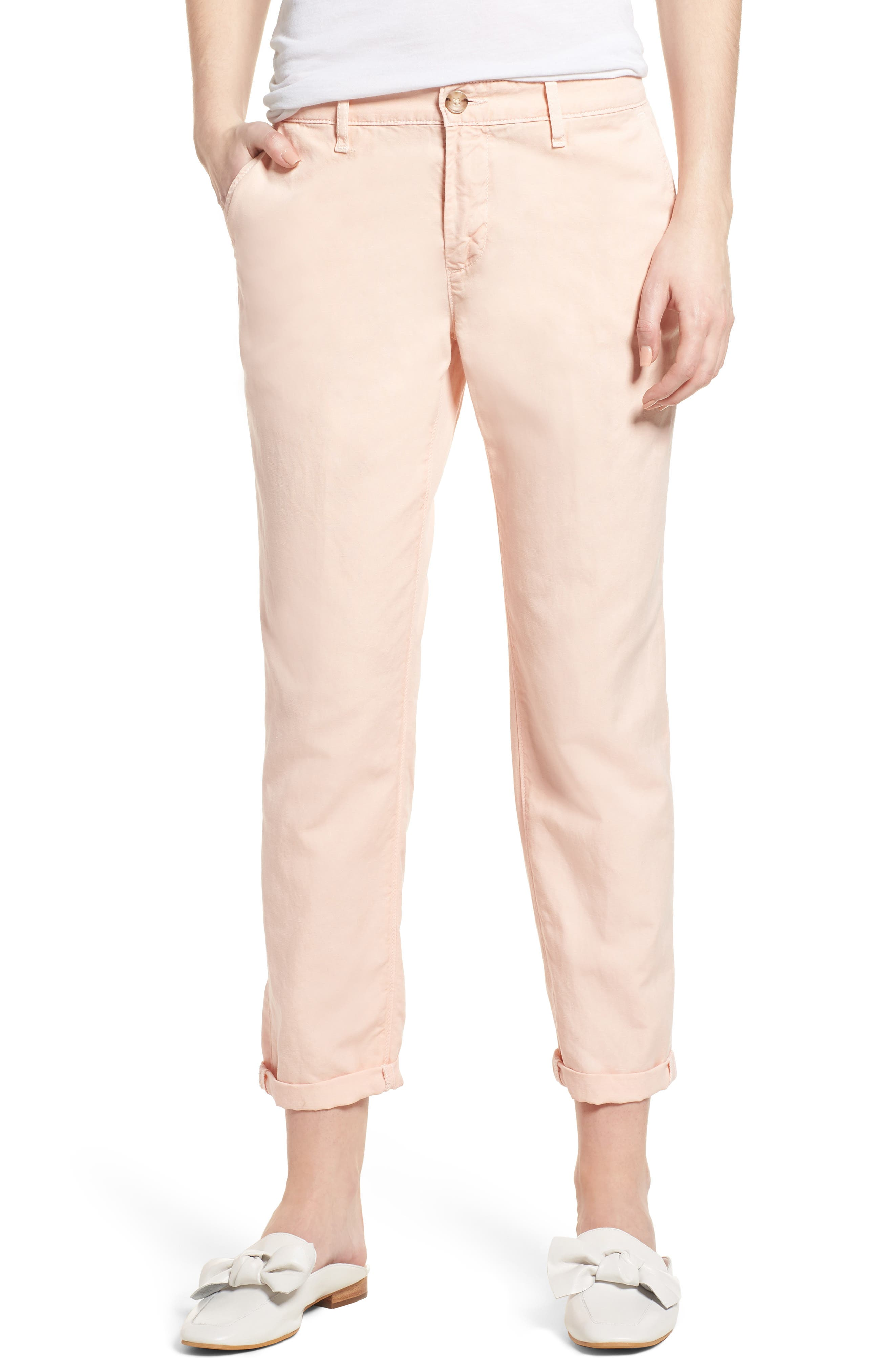 Caden Crop Twill Trousers,                         Main,                         color, Sulfur Prism Pink