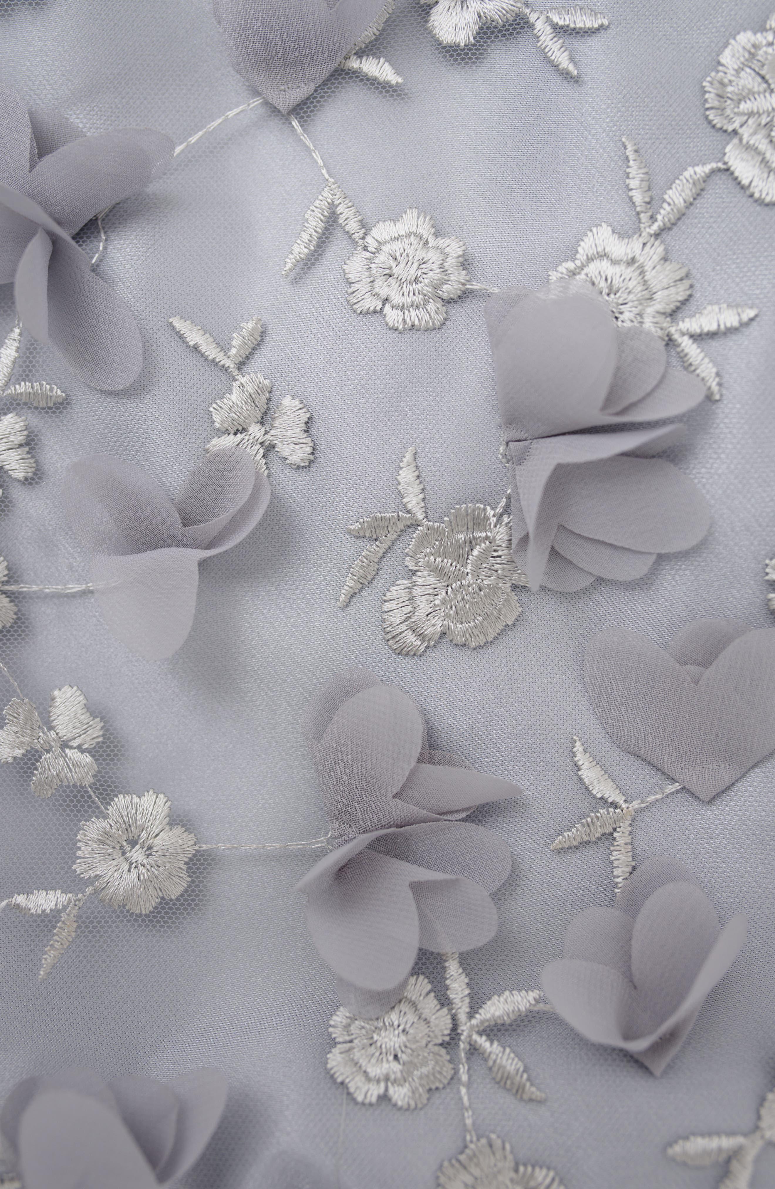 Stella M'Lia 3D Tulle Two-Piece Dress,                             Alternate thumbnail 4, color,                             Silver