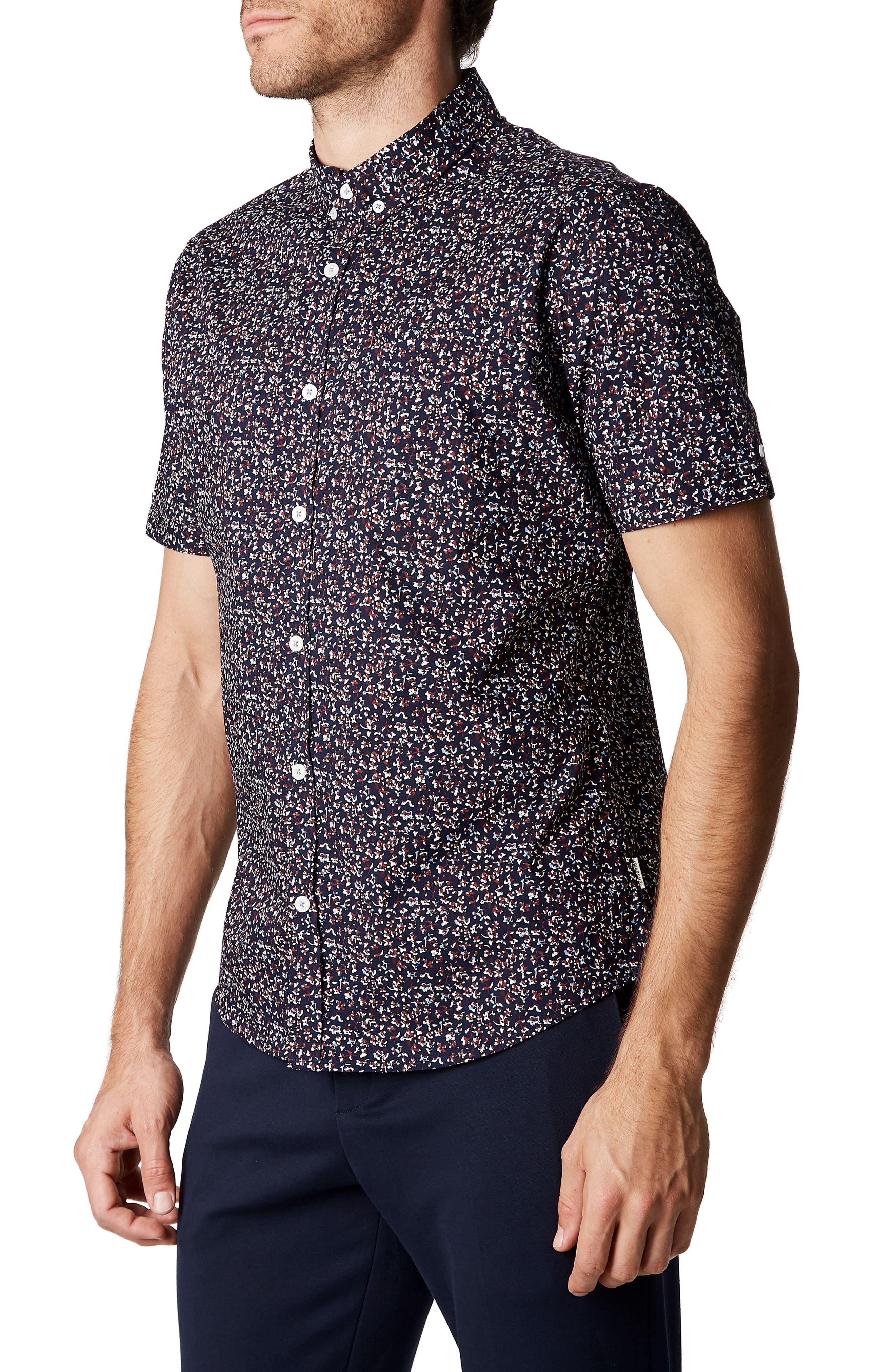 Dark Star Floral Print Sport Shirt,                             Alternate thumbnail 3, color,                             Navy
