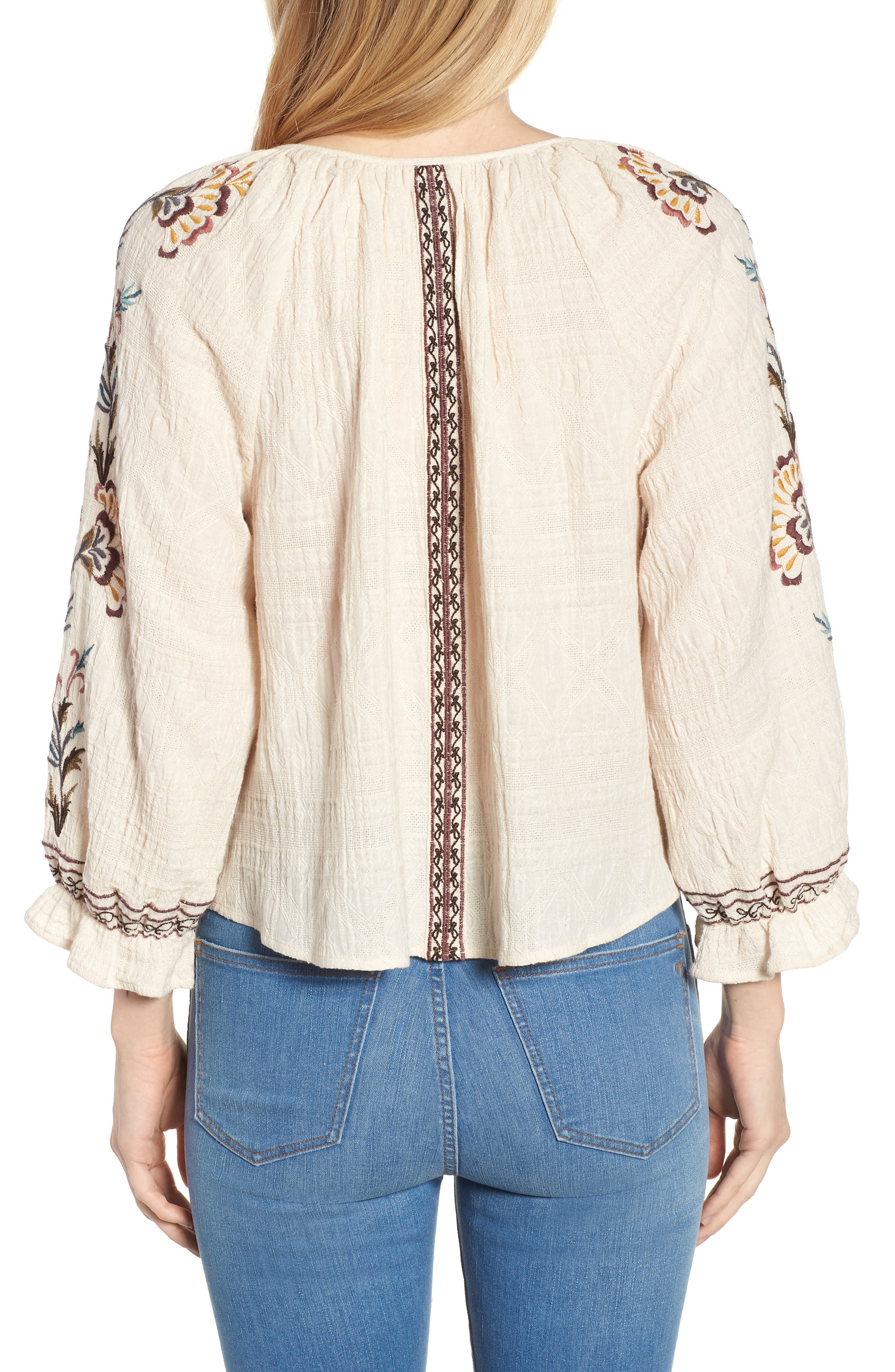 Embroidered Peasant Blouse,                             Alternate thumbnail 2, color,                             Natural Multi
