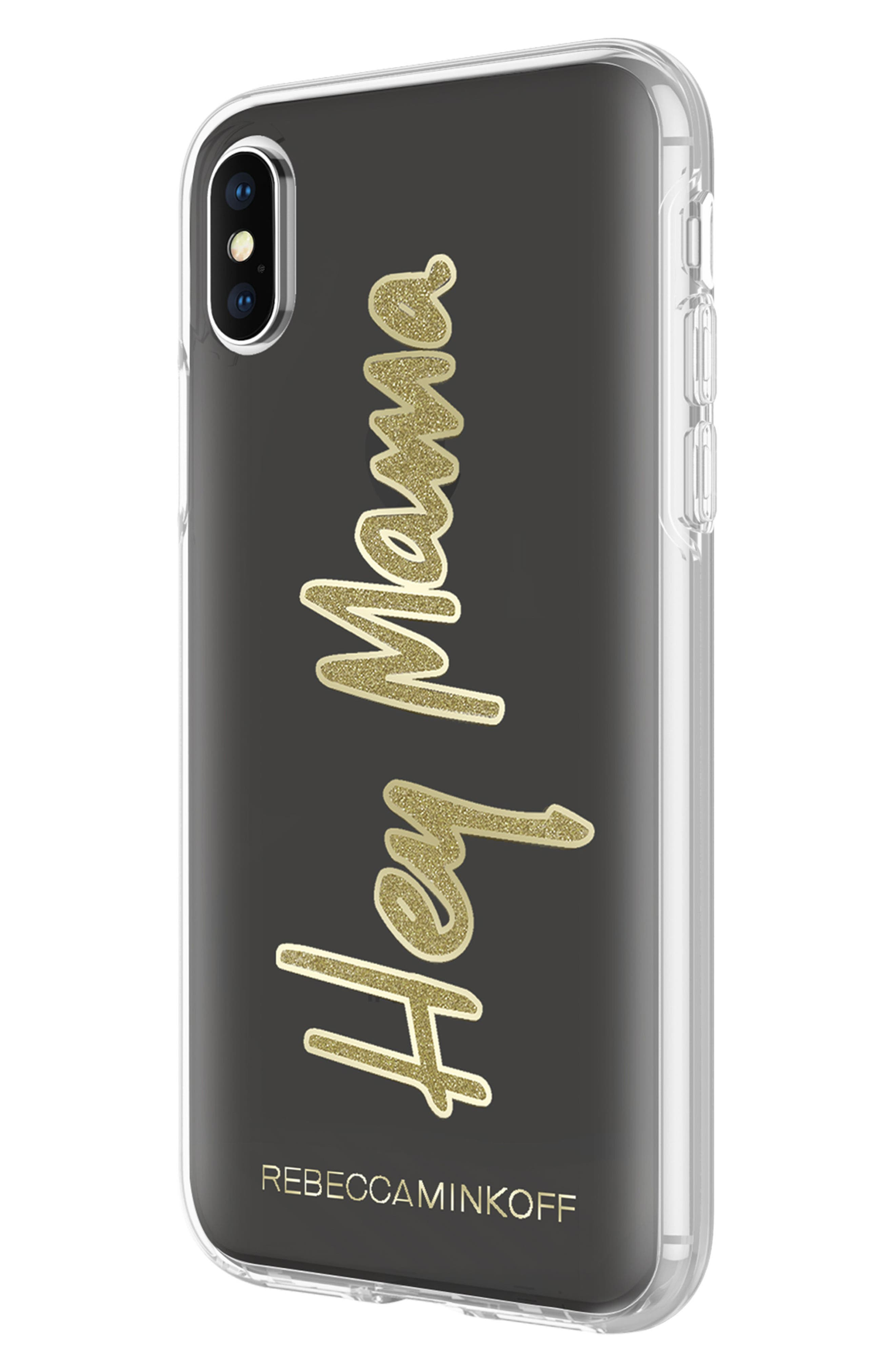Hey Mama iPhone X Case,                             Alternate thumbnail 4, color,                             Black/ Gold Glitter