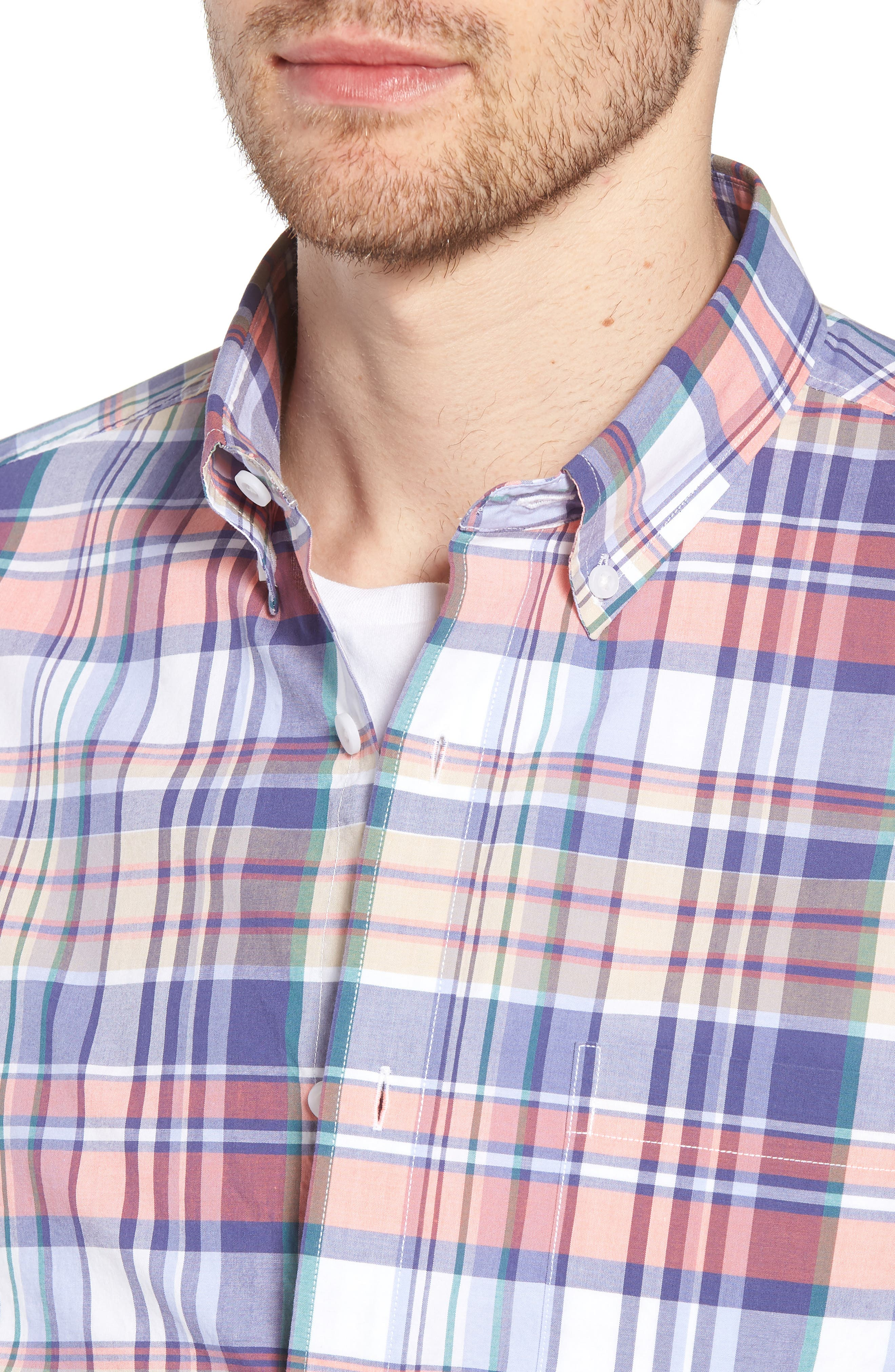 Trim Fit Plaid Short Sleeve Sport Shirt,                             Alternate thumbnail 4, color,                             Navy Coral Multi Plaid