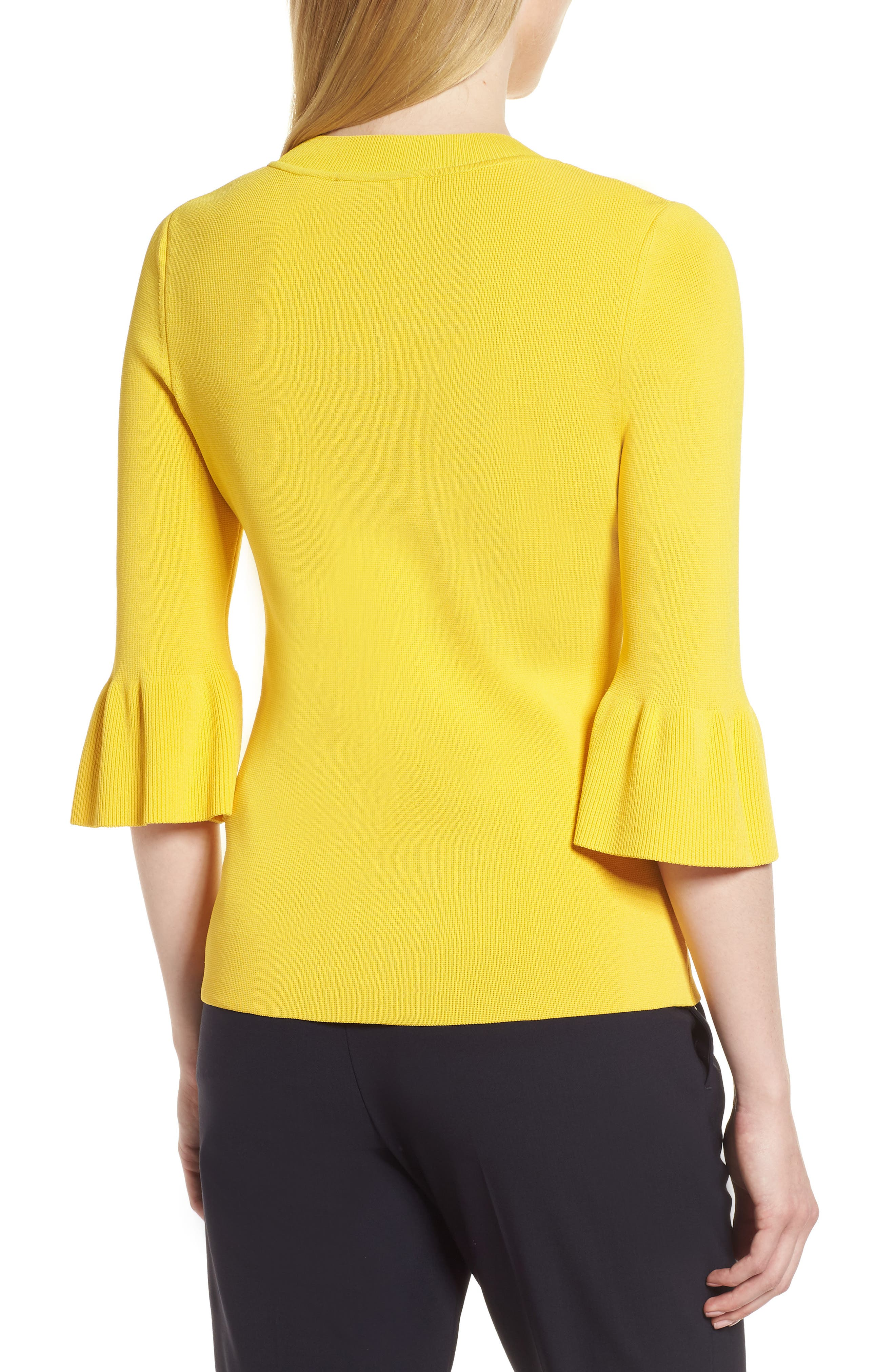 Fenella Ruffle Sleeve Sweater,                             Alternate thumbnail 2, color,                             Sun Yellow