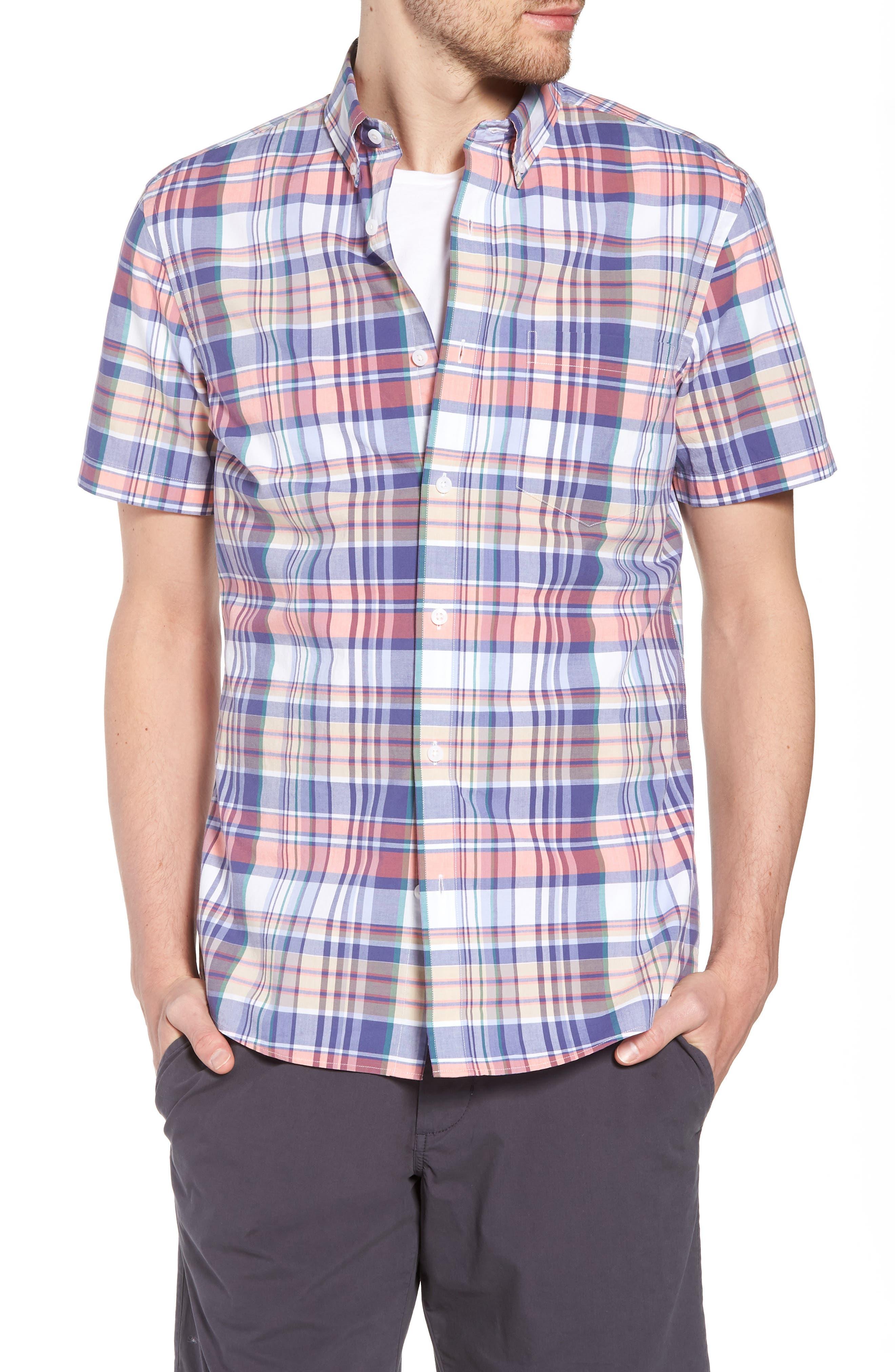 Trim Fit Plaid Short Sleeve Sport Shirt,                             Main thumbnail 1, color,                             Navy Coral Multi Plaid