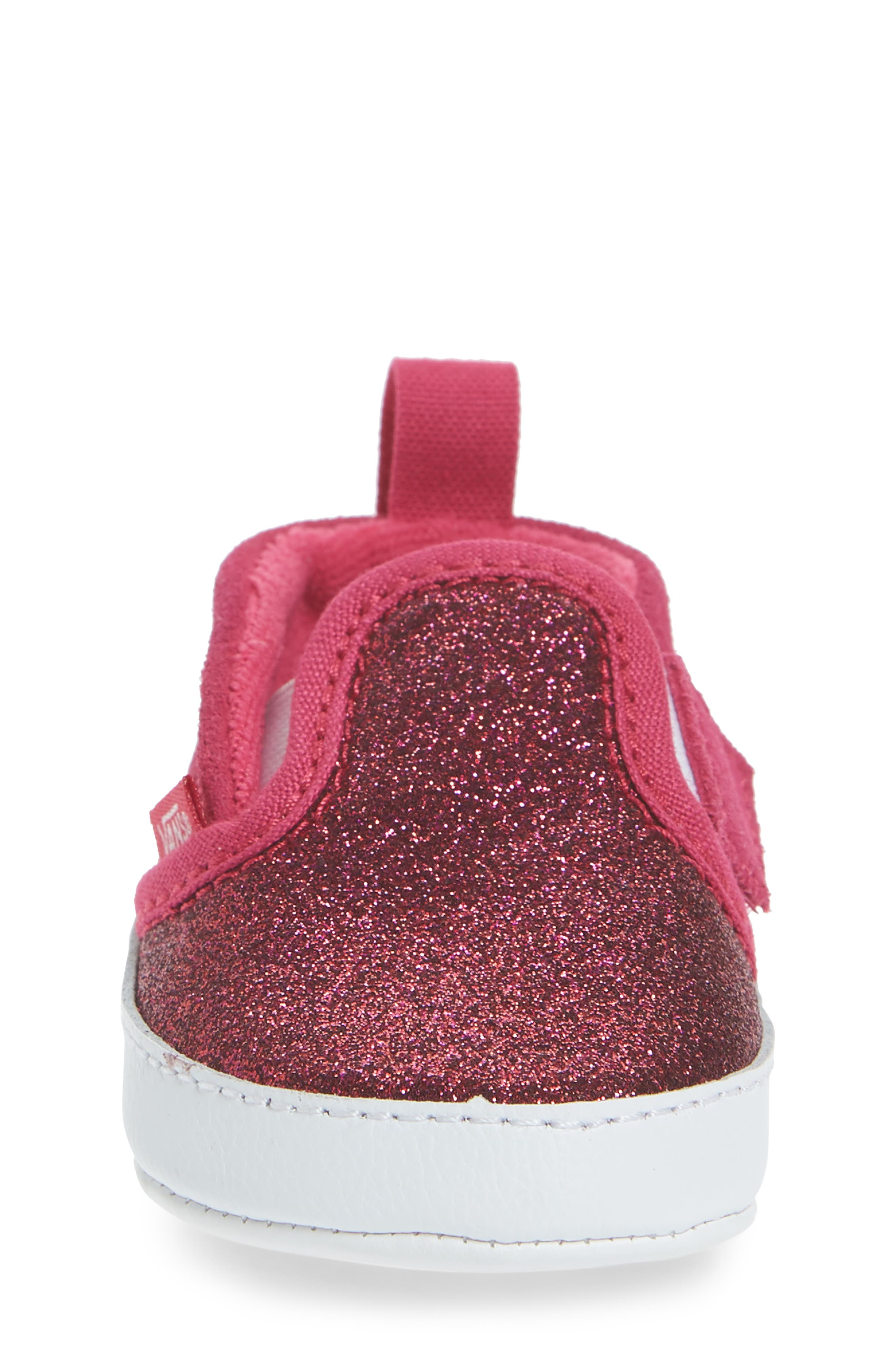 Glitter Crib Shoe,                             Alternate thumbnail 4, color,                             Rosy Glitter