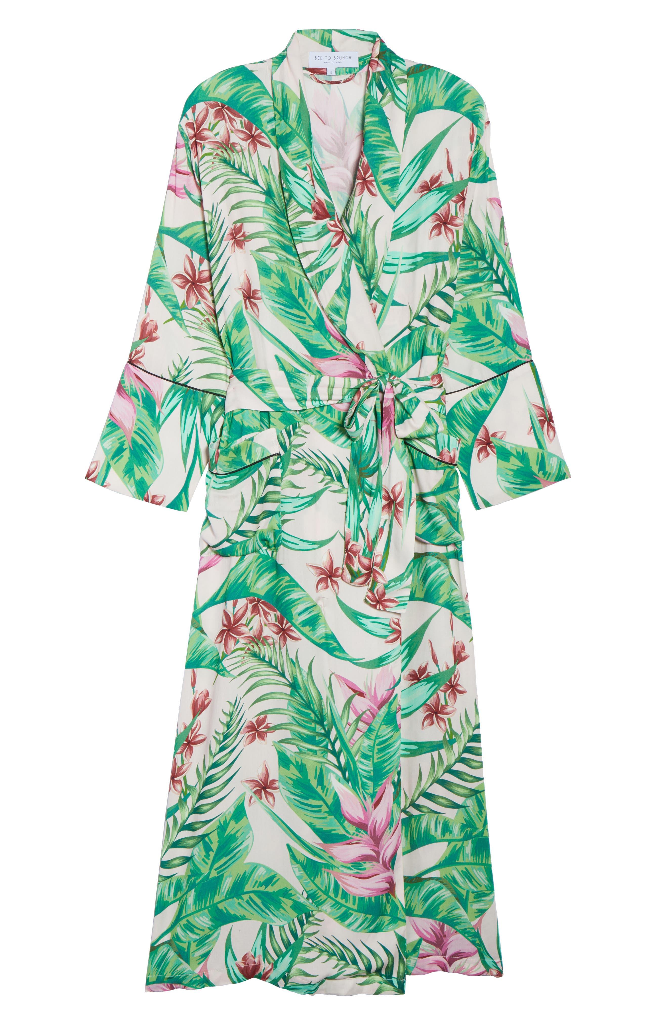 Floral Print Robe,                             Alternate thumbnail 6, color,                             Avalon Palm