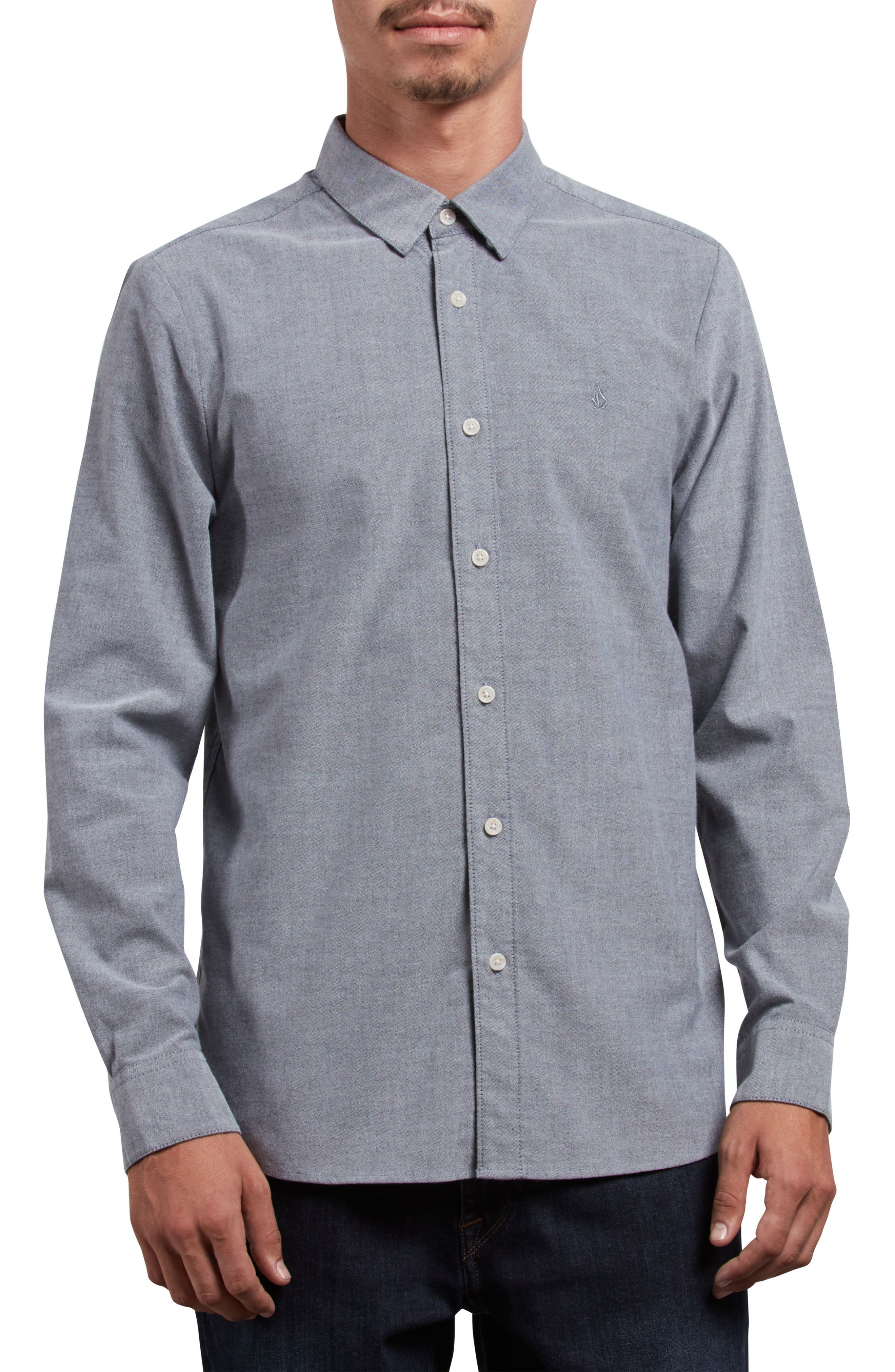 Stretch Oxford Shirt,                             Main thumbnail 1, color,                             Black