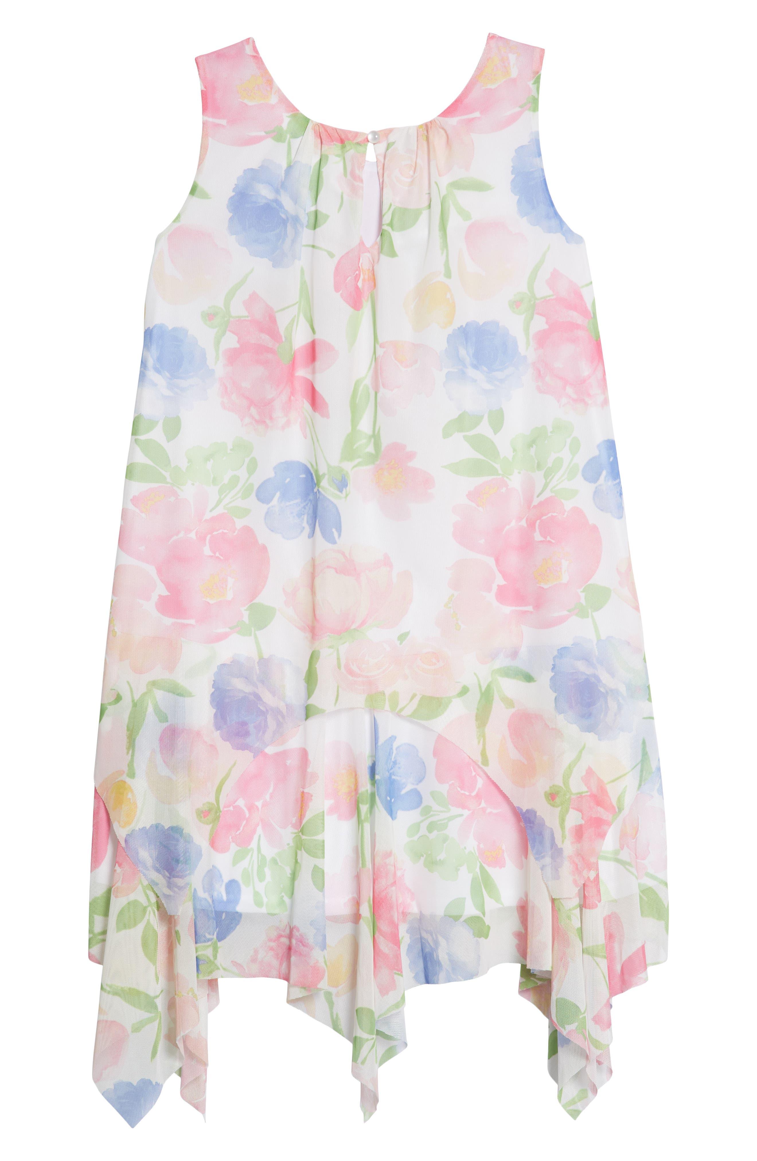 Floral Handkerchief Hem Dress,                             Alternate thumbnail 2, color,                             Multi