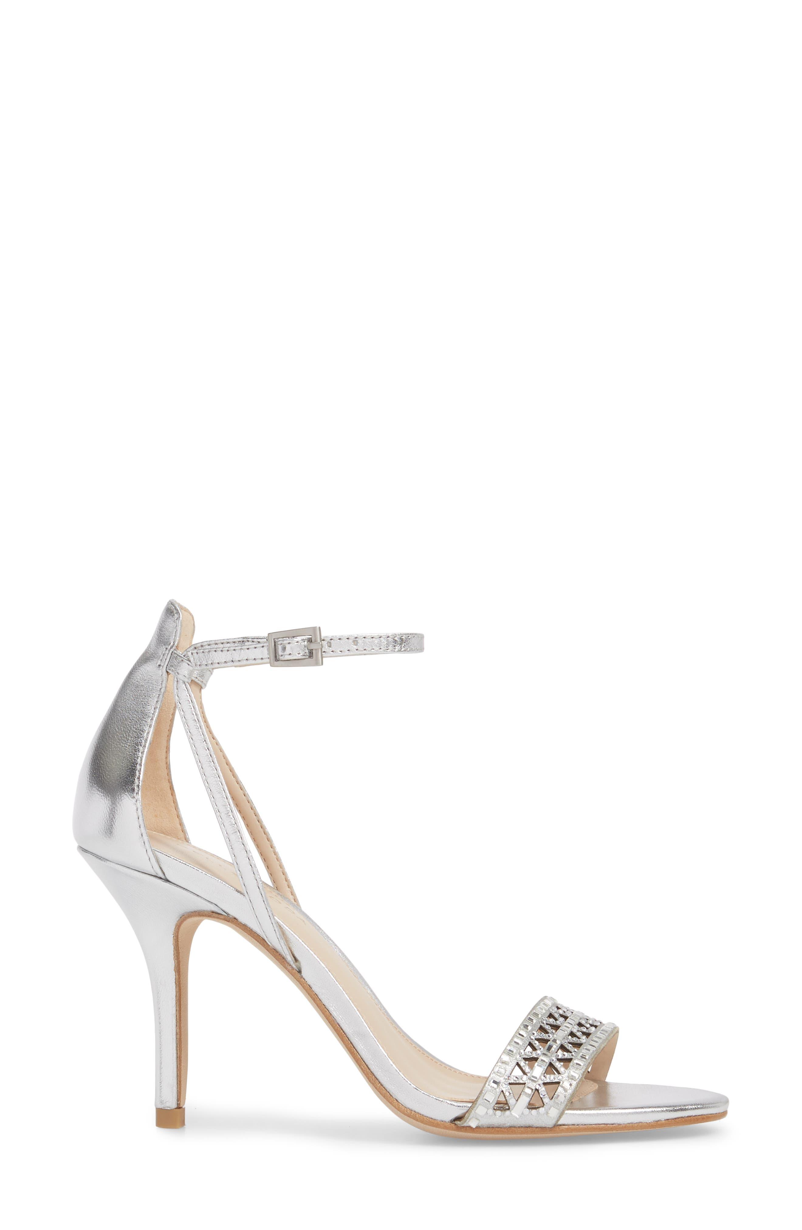 Karmina Embellished Sandal,                             Alternate thumbnail 3, color,                             Silver Leather