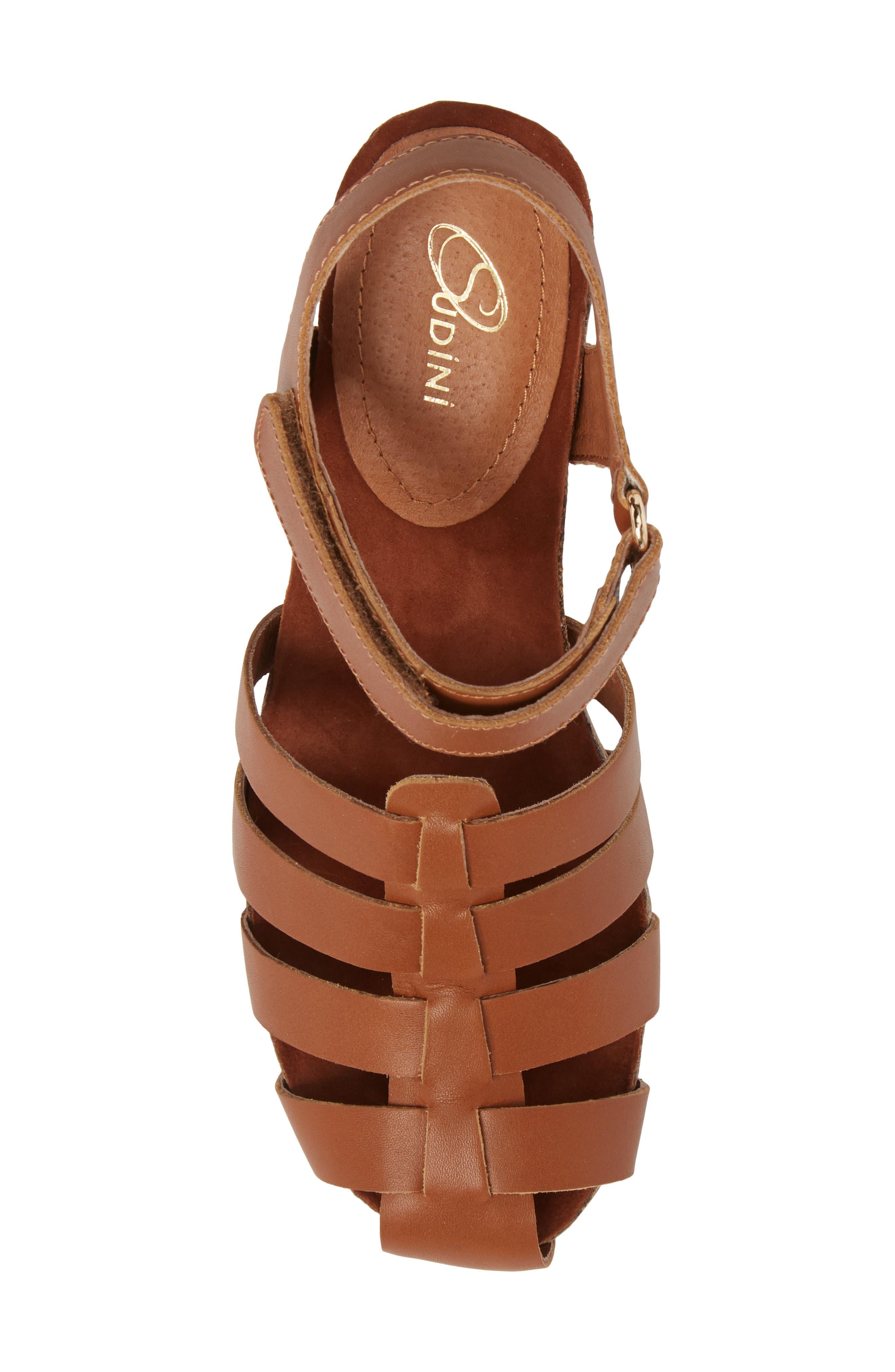 Carrara Block Heel Sandal,                             Alternate thumbnail 5, color,                             Cognac Leather