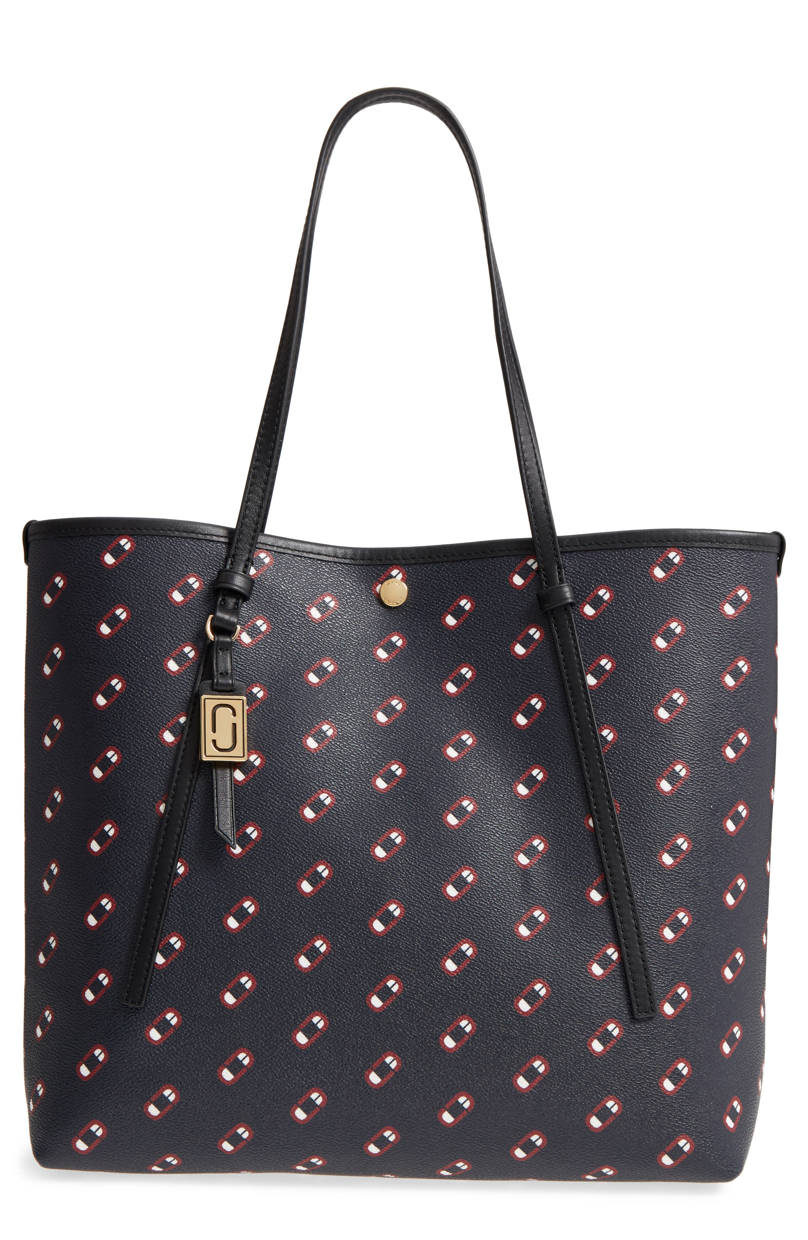 Logo Scream Faux Leather Tote,                         Main,                         color, Navy Multi