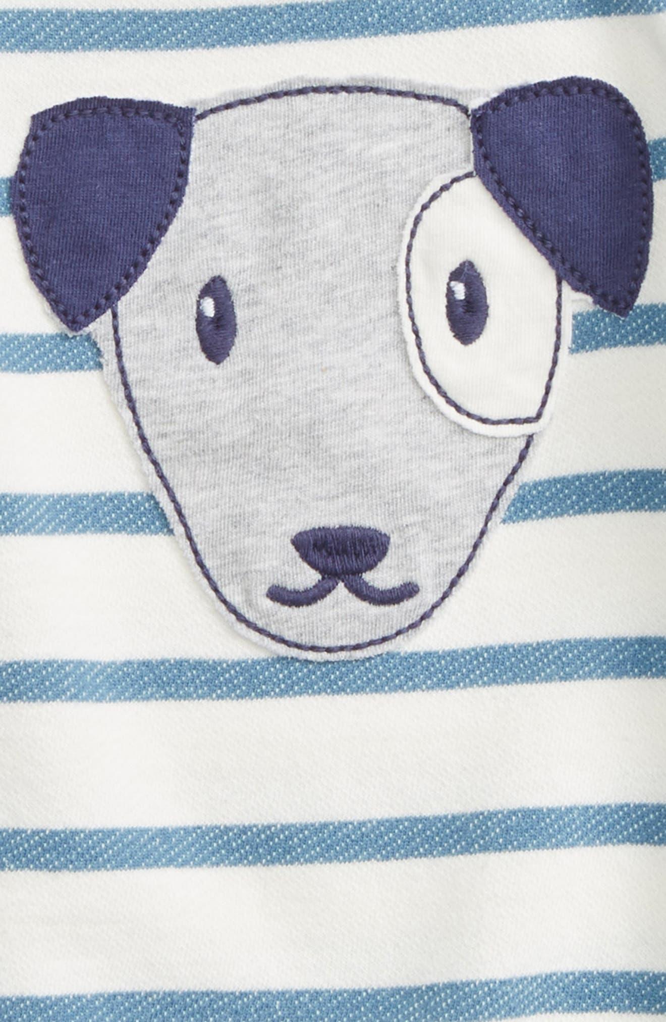 Dog Appliqué Stripe Romper,                             Alternate thumbnail 2, color,                             Blue Captain Breton