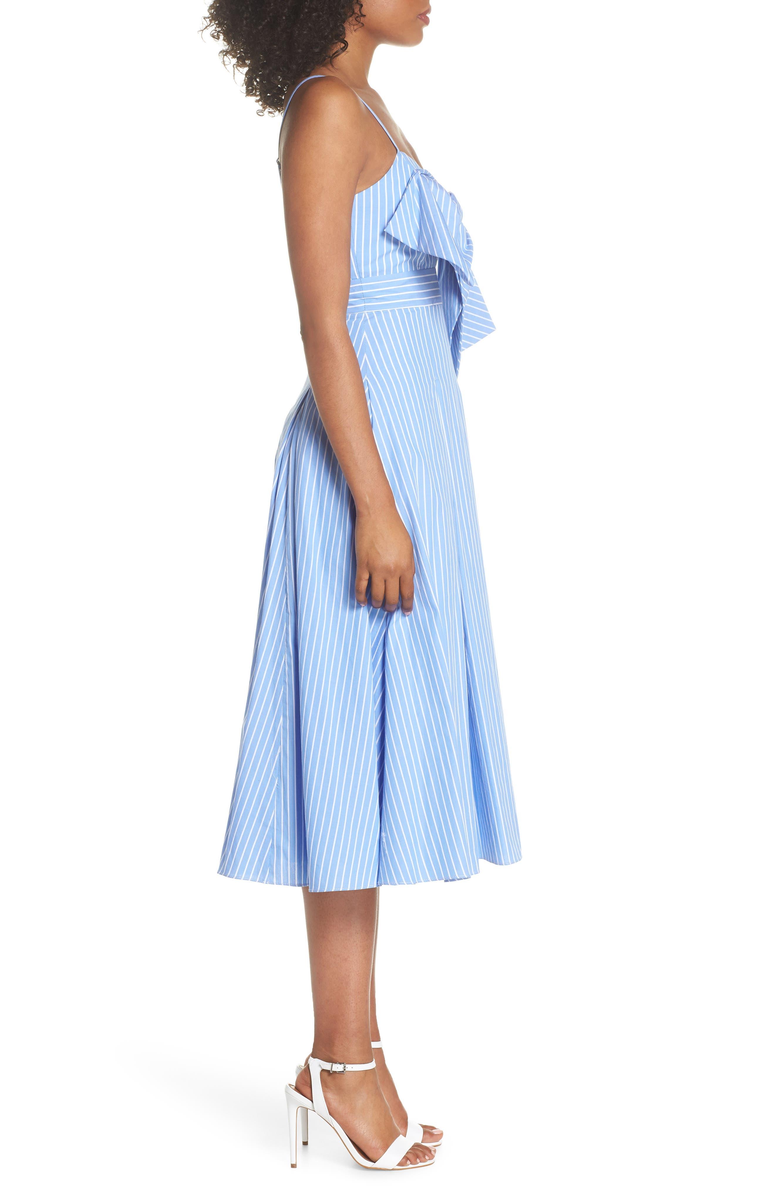 Becky Bow Front Tea Length Dress,                             Alternate thumbnail 3, color,                             Pale Blue/ White Stripe
