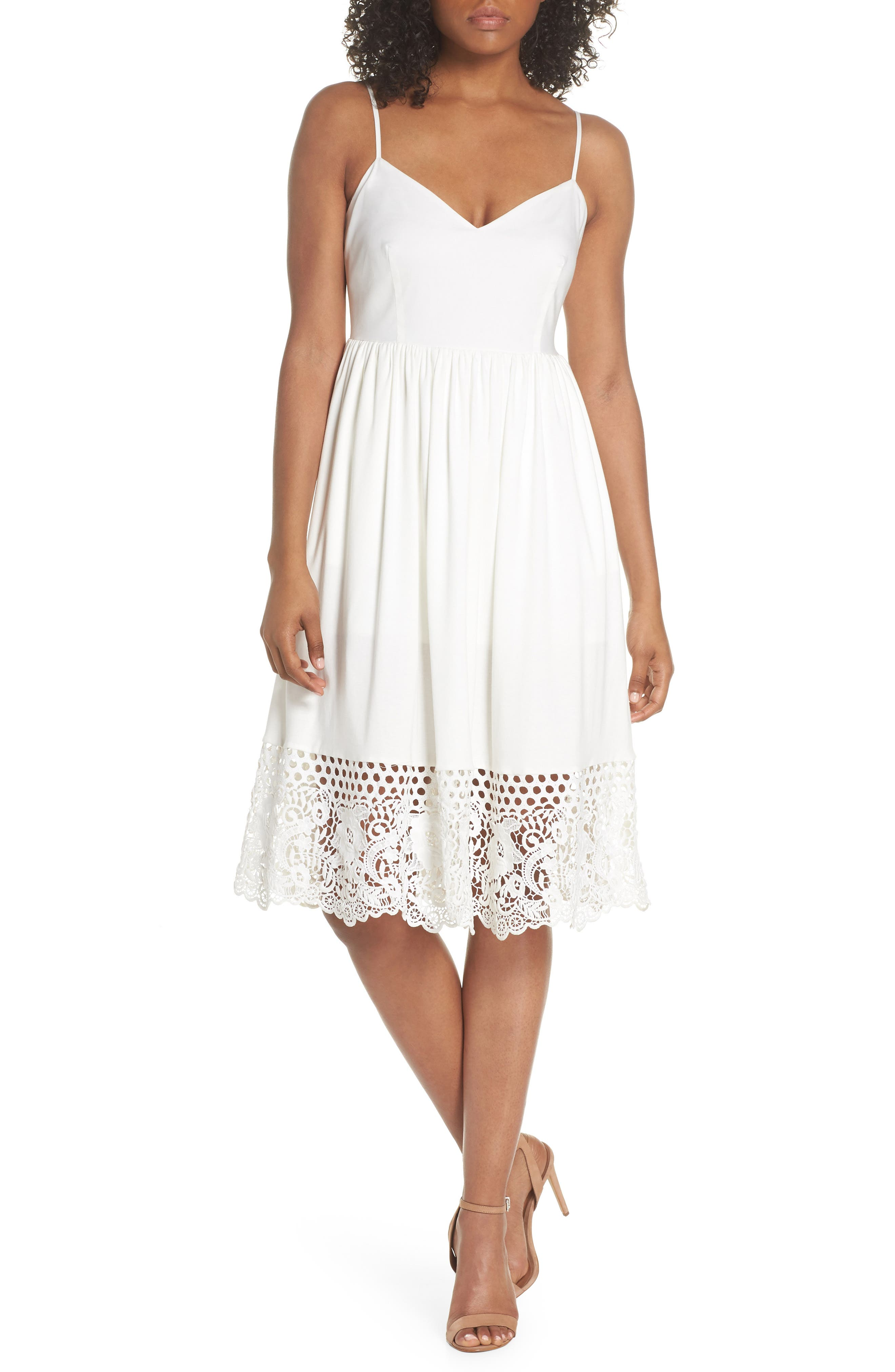 Salerno Lace Trim Jersey Dress,                             Main thumbnail 1, color,                             Summer White/ Summer White