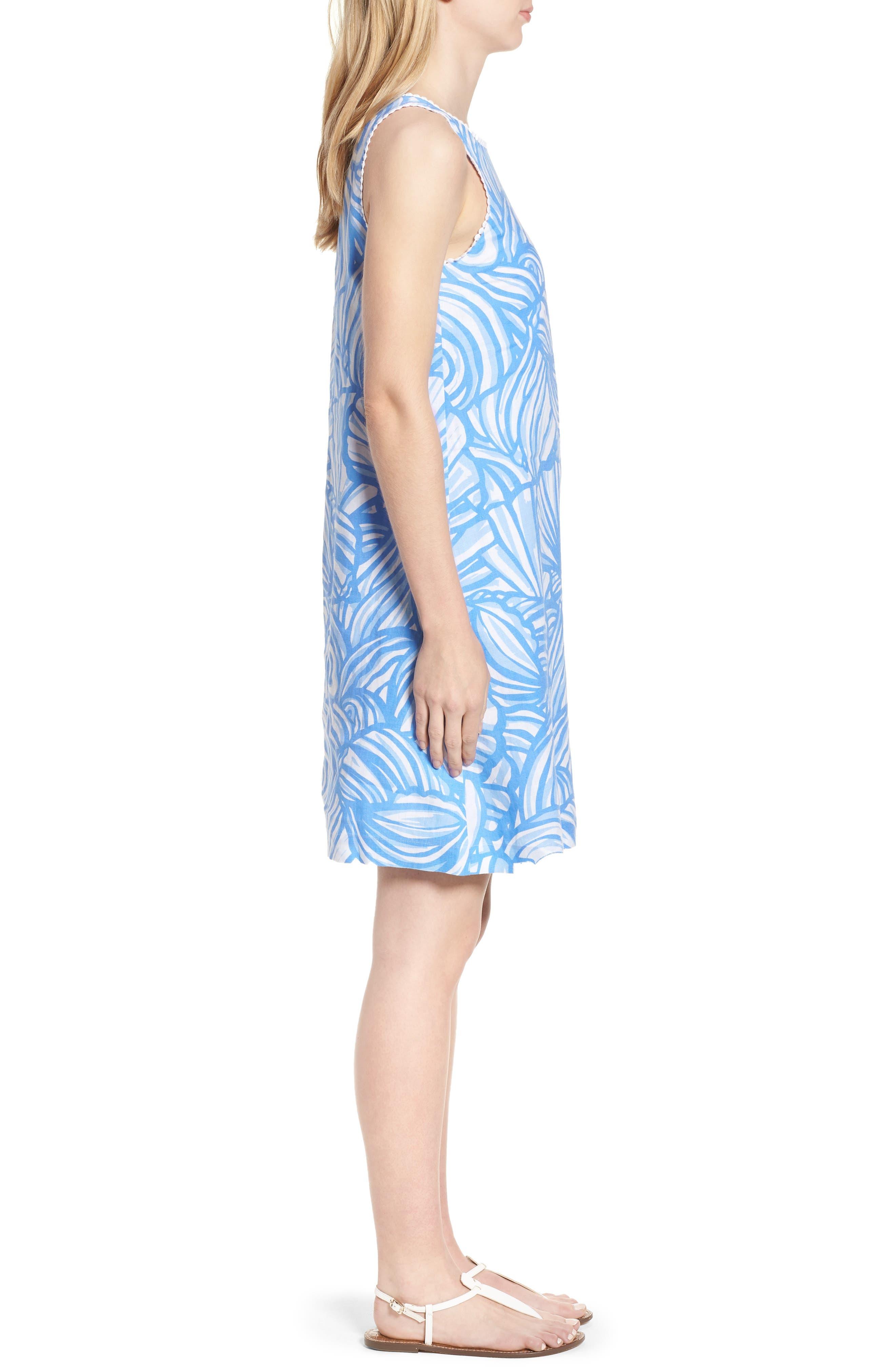 Nautilus Print Shift Dress,                             Alternate thumbnail 3, color,                             Cornflower