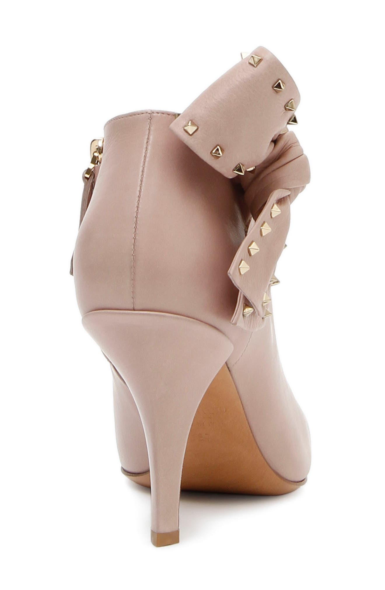 Studded Bow Ankle Bootie,                             Alternate thumbnail 3, color,                             Poudre