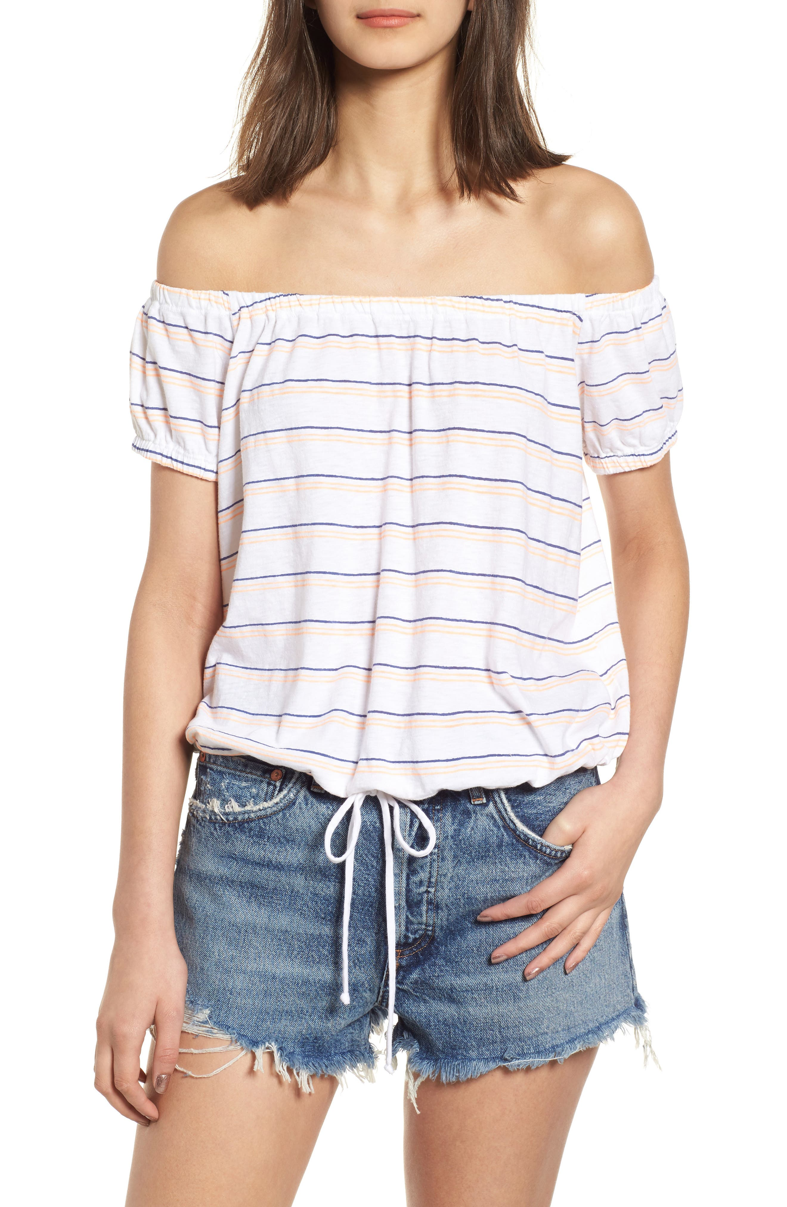 Stripe Off the Shoulder Tee,                             Main thumbnail 1, color,                             White