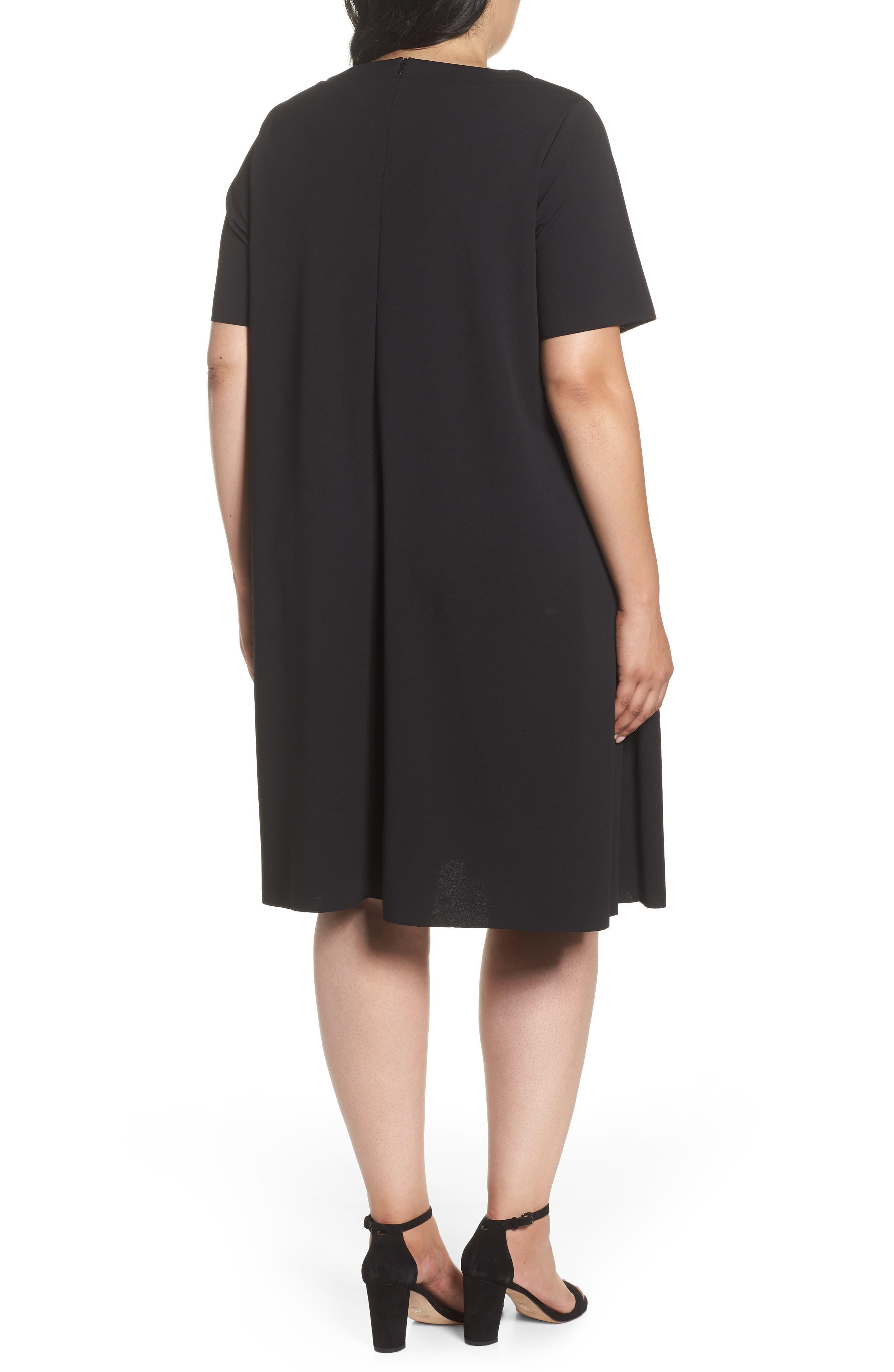 Short Sleeve Knit Dress,                             Alternate thumbnail 2, color,                             Black