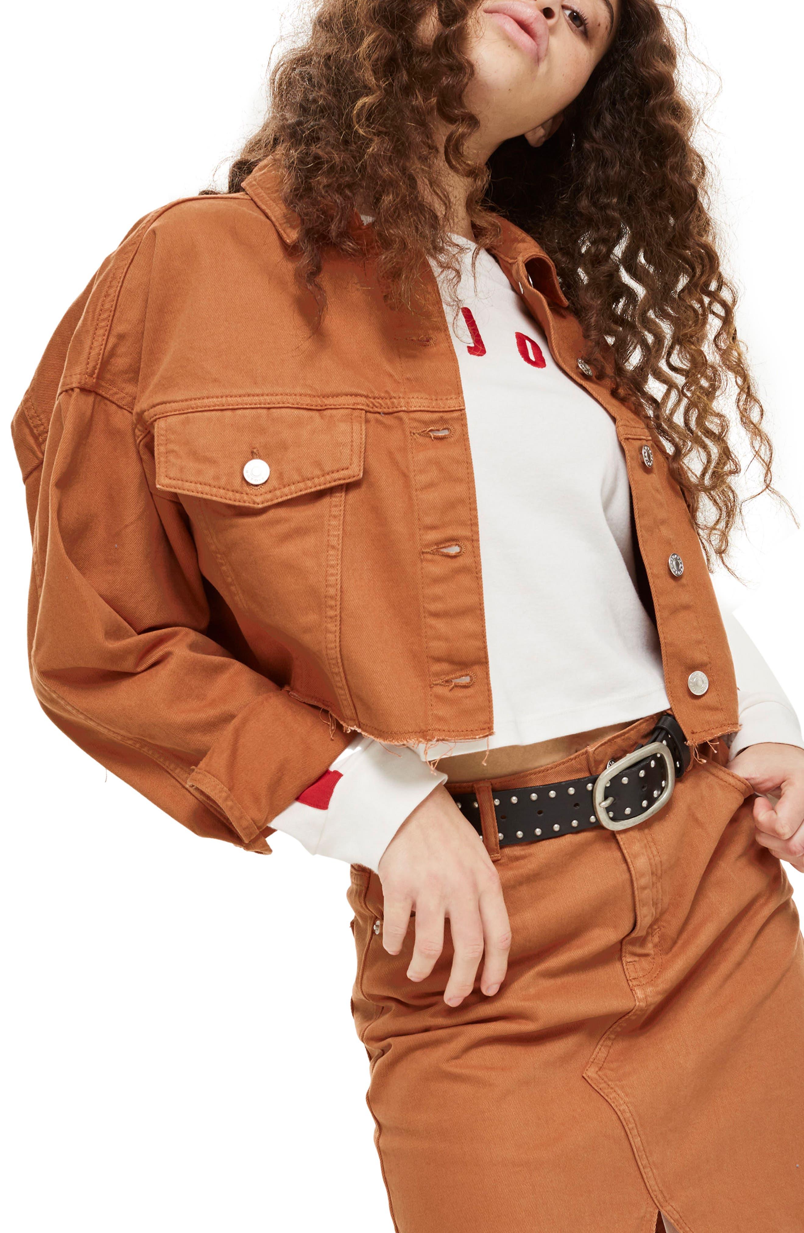 Raw Edge Crop Denim Jacket,                             Main thumbnail 1, color,                             Rust