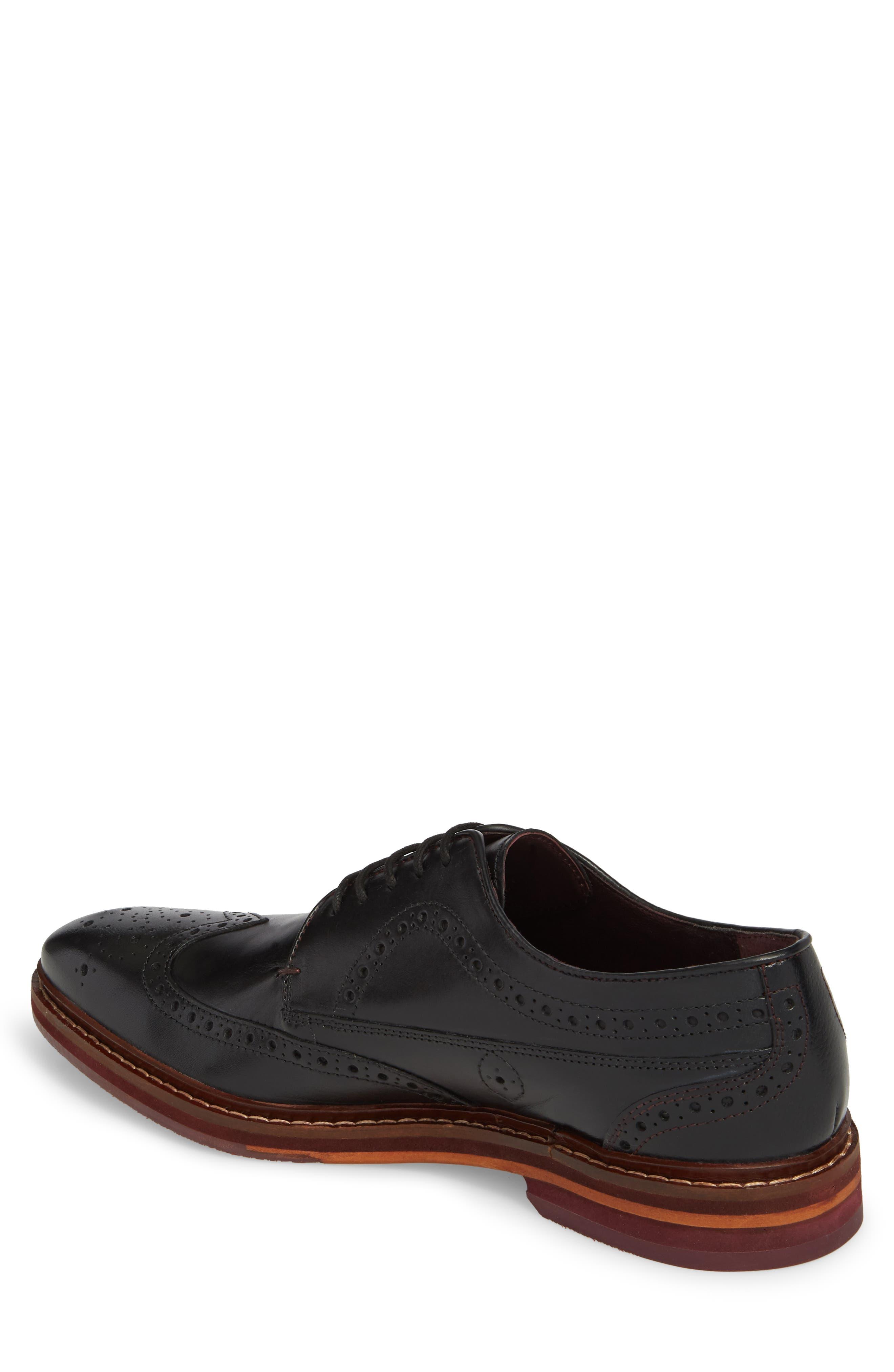 Gourdon Wingtip Derby,                             Alternate thumbnail 2, color,                             Black Leather