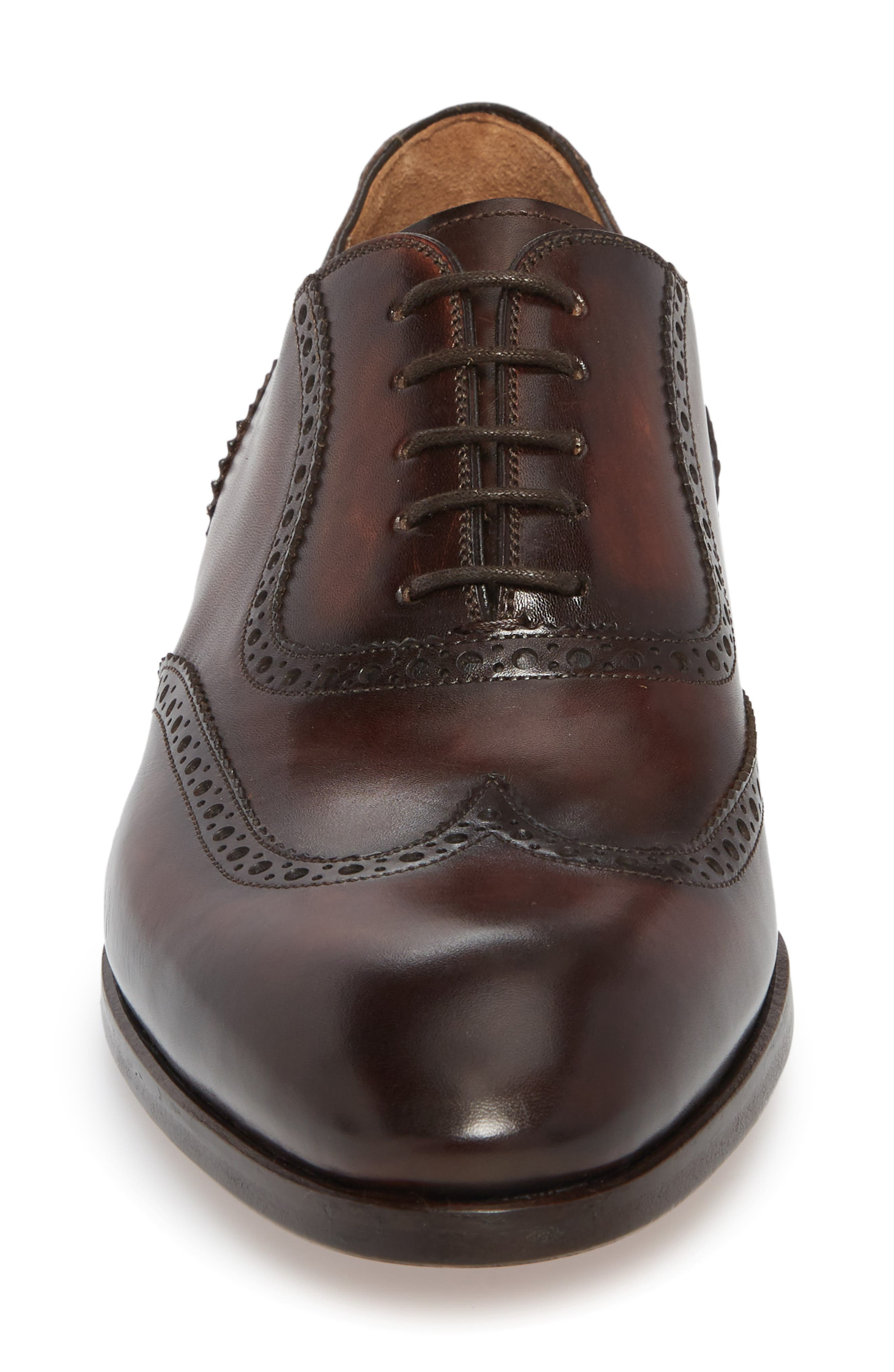 Dana Wingtip Oxford,                             Alternate thumbnail 4, color,                             Mid-Brown Leather