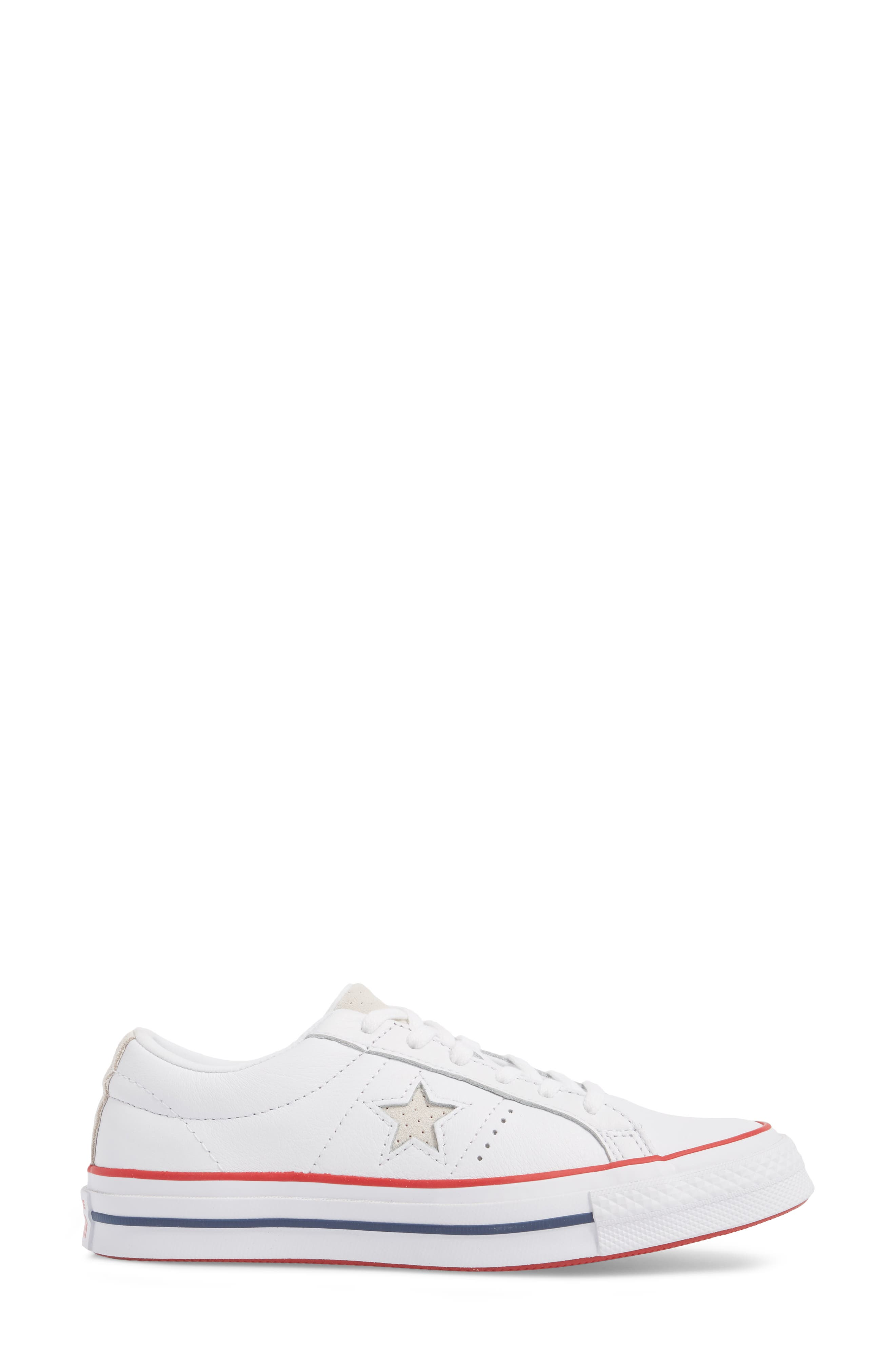 One Star Sneaker,                             Alternate thumbnail 3, color,                             White/ Gym Red