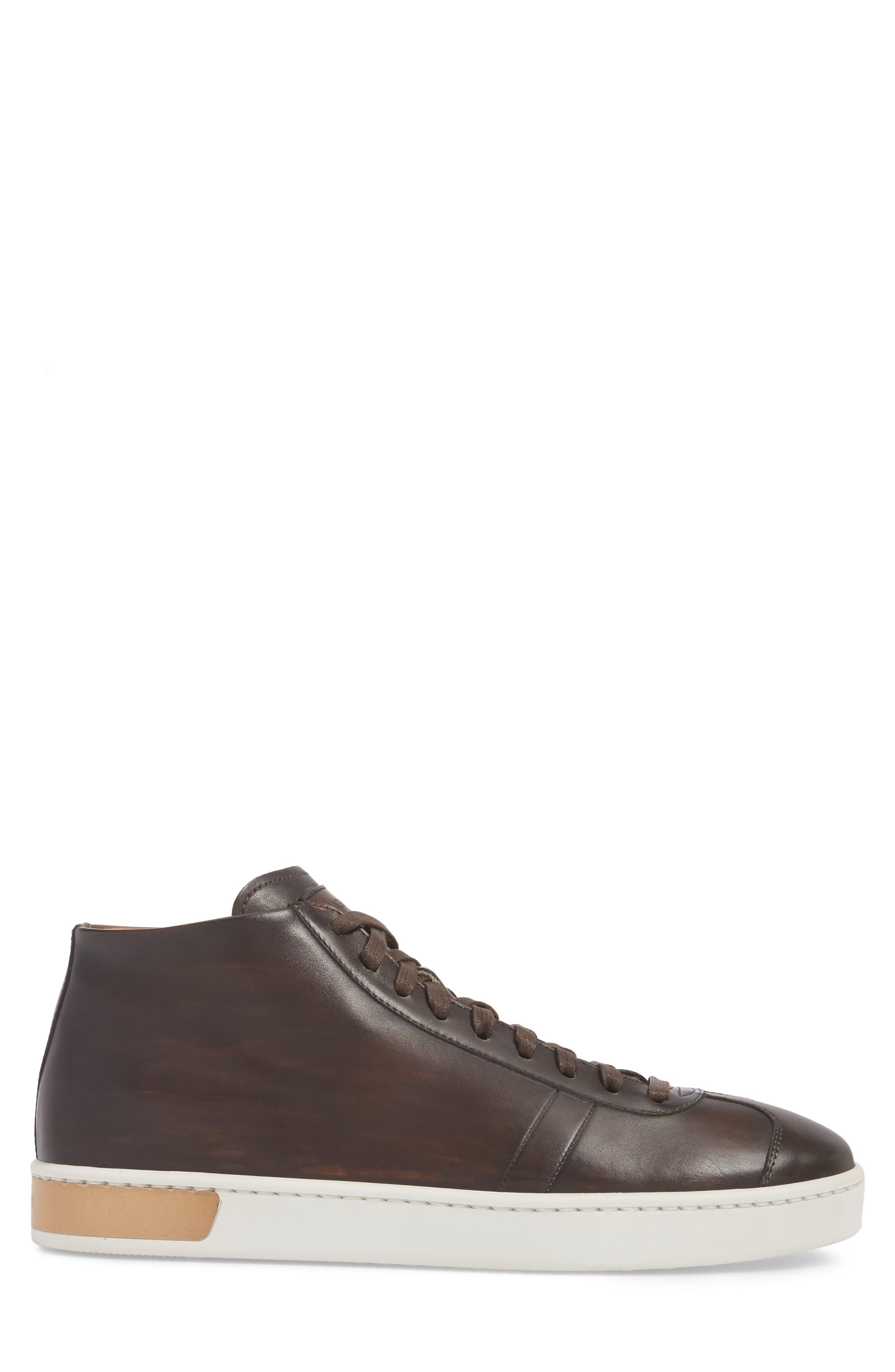 Gunner Mid Top Sneaker,                             Alternate thumbnail 3, color,                             Brown Leather