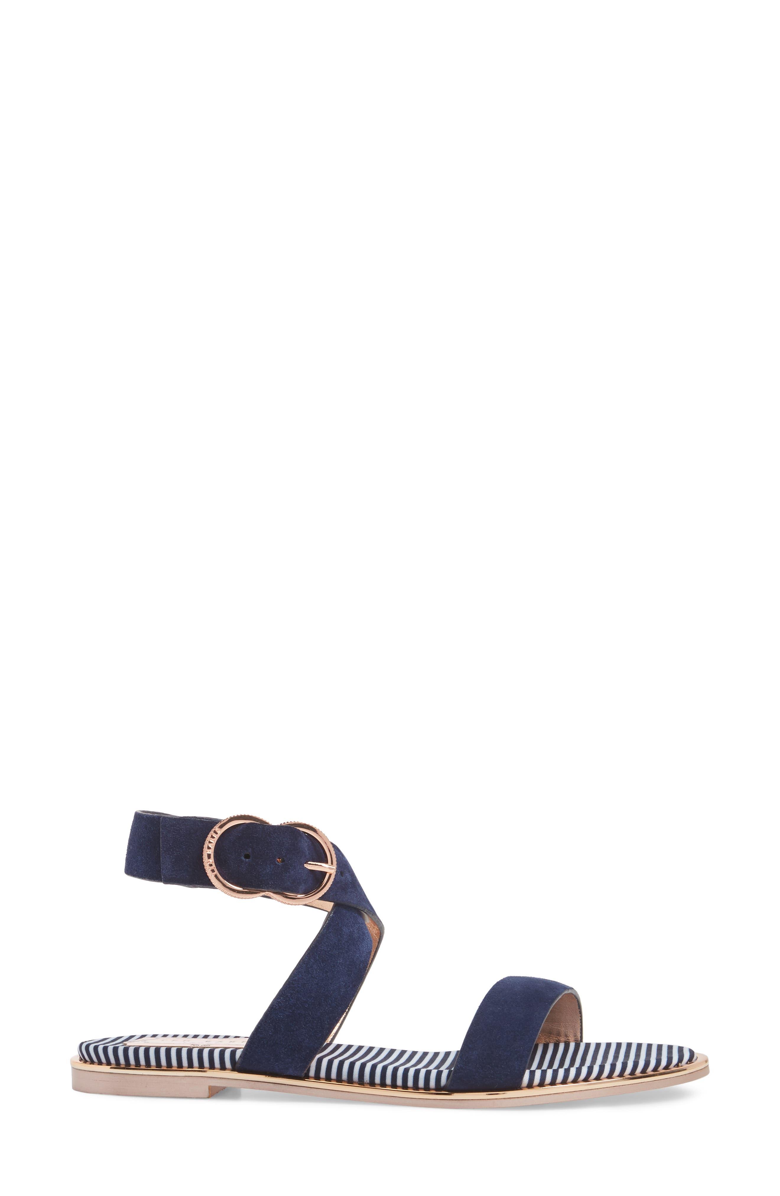 Qeredas Sandal,                             Alternate thumbnail 3, color,                             Navy Suede