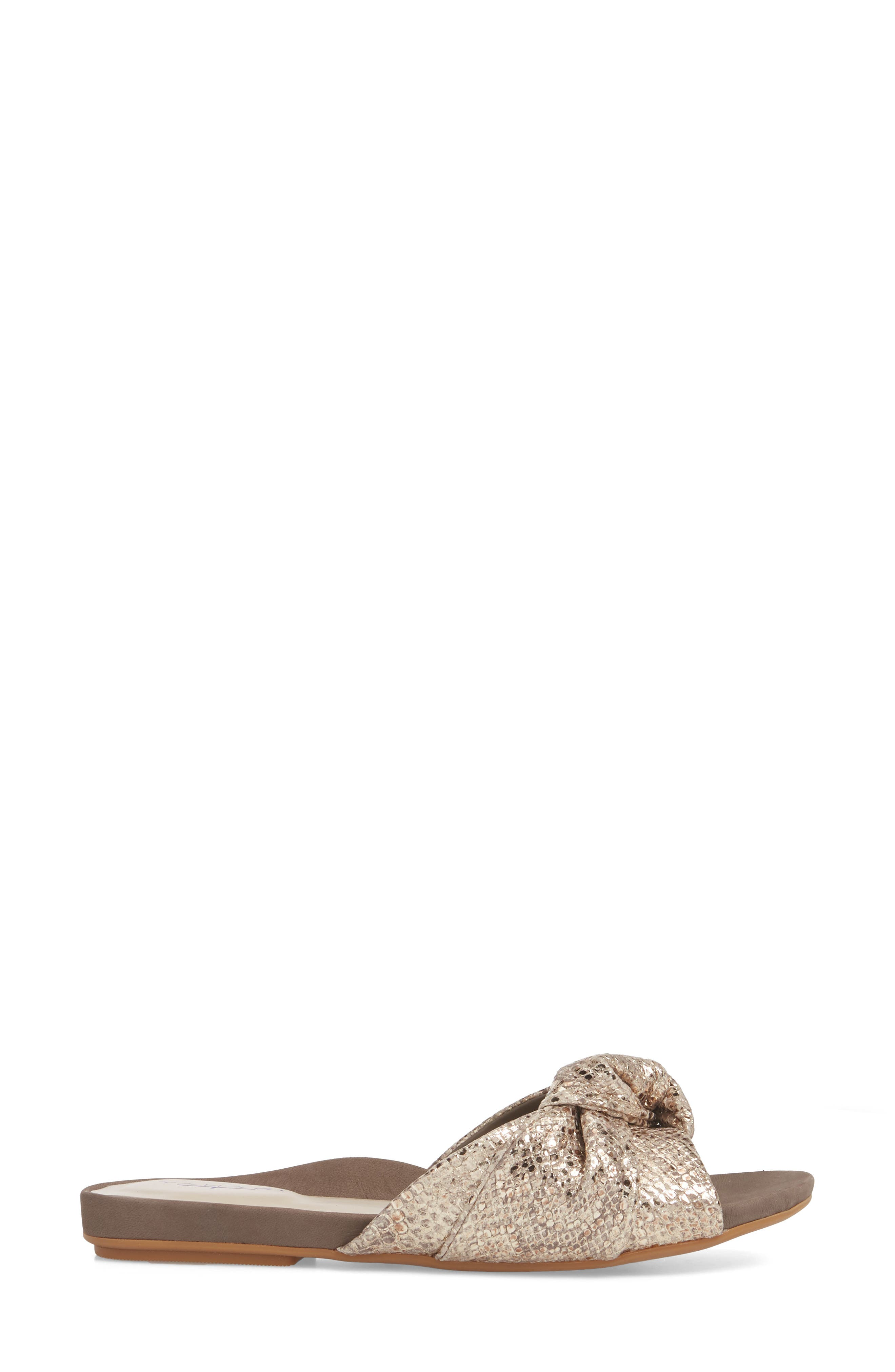 Lauren Slide Sandal,                             Alternate thumbnail 3, color,                             Taupe-Gold Suede