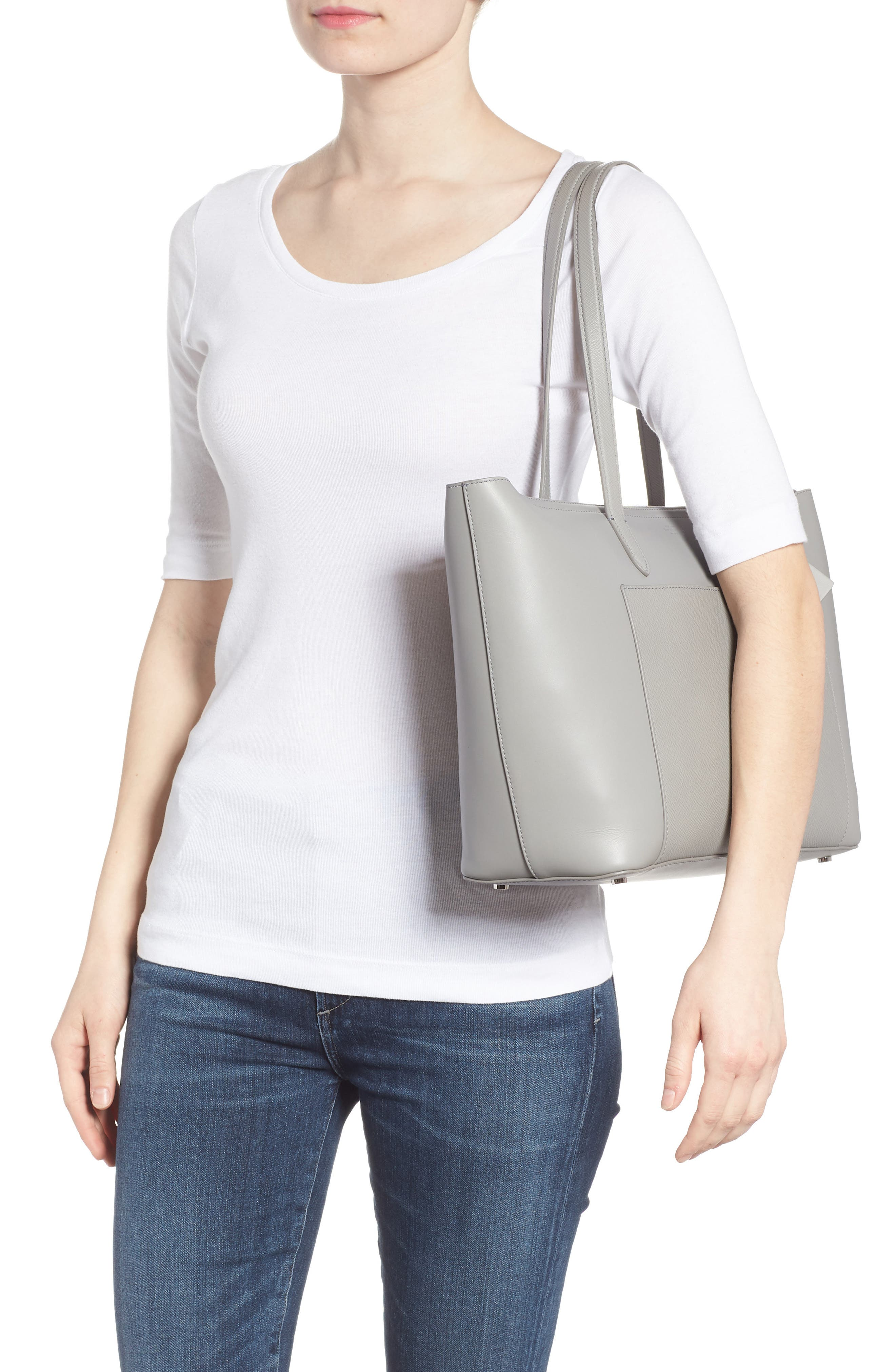 Panama East/West Leather Tote,                             Alternate thumbnail 2, color,                             Cold Grey